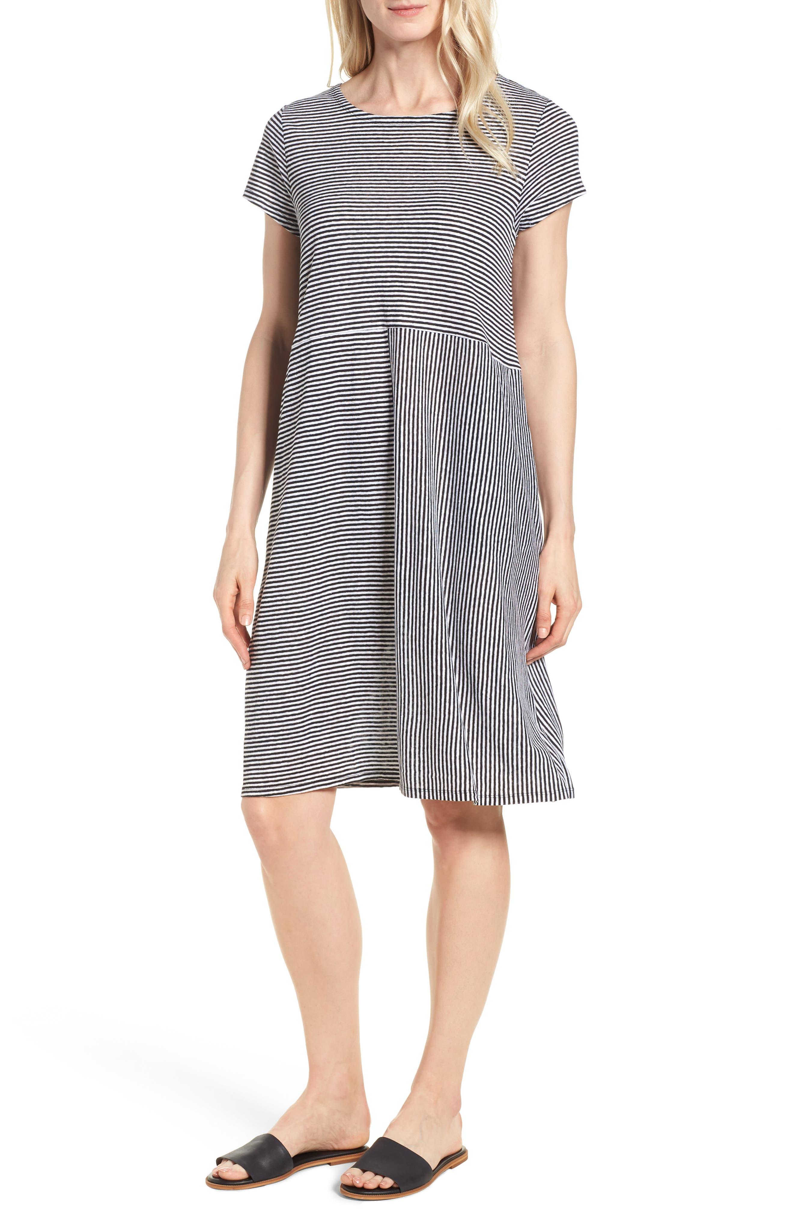 Stripe Organic Linen Jersey Shift Dress,                             Main thumbnail 1, color,                             Black/ White