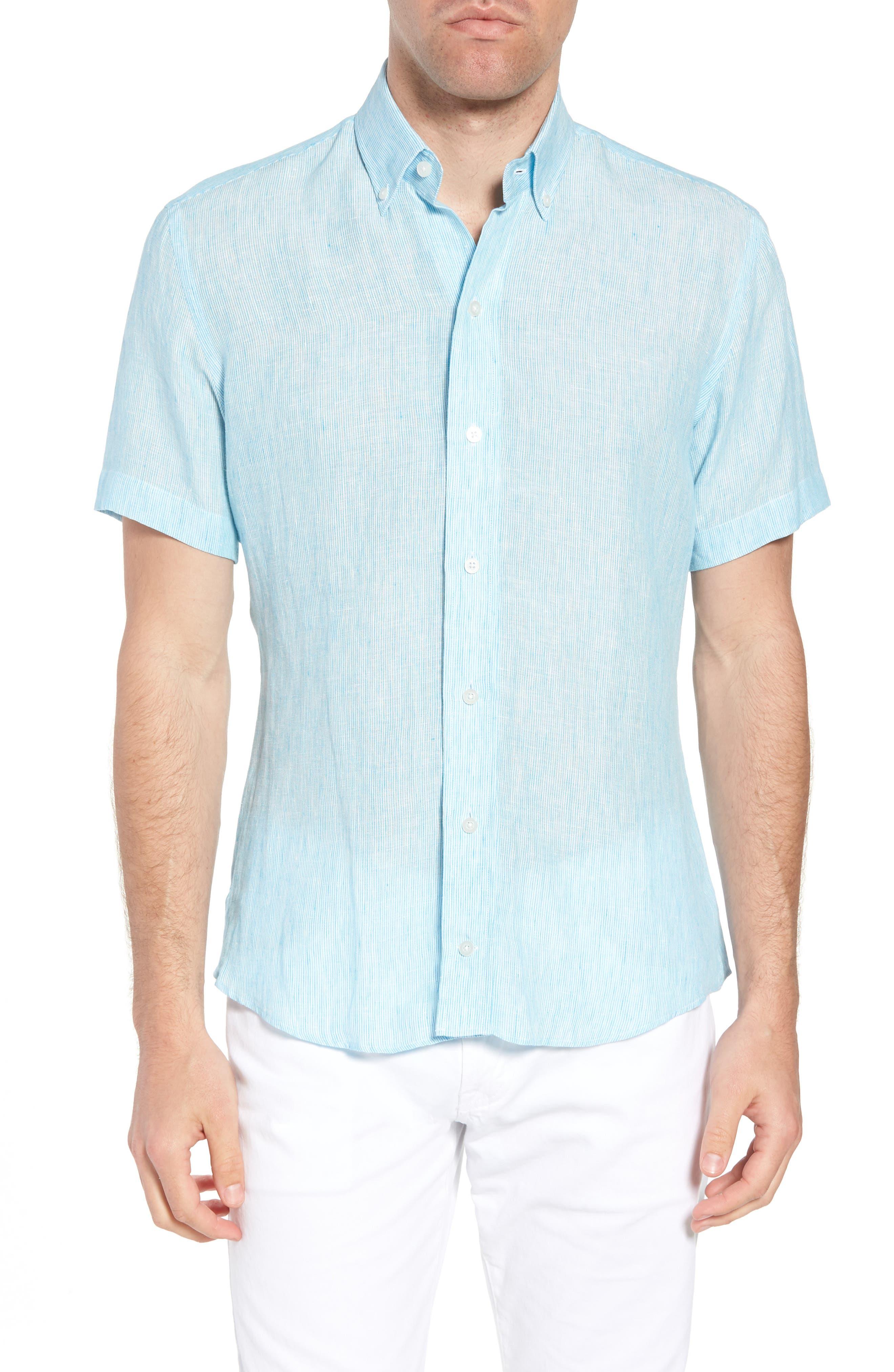 Willington Stripe Slim Fit Linen Sport Shirt,                         Main,                         color, Pool Blue