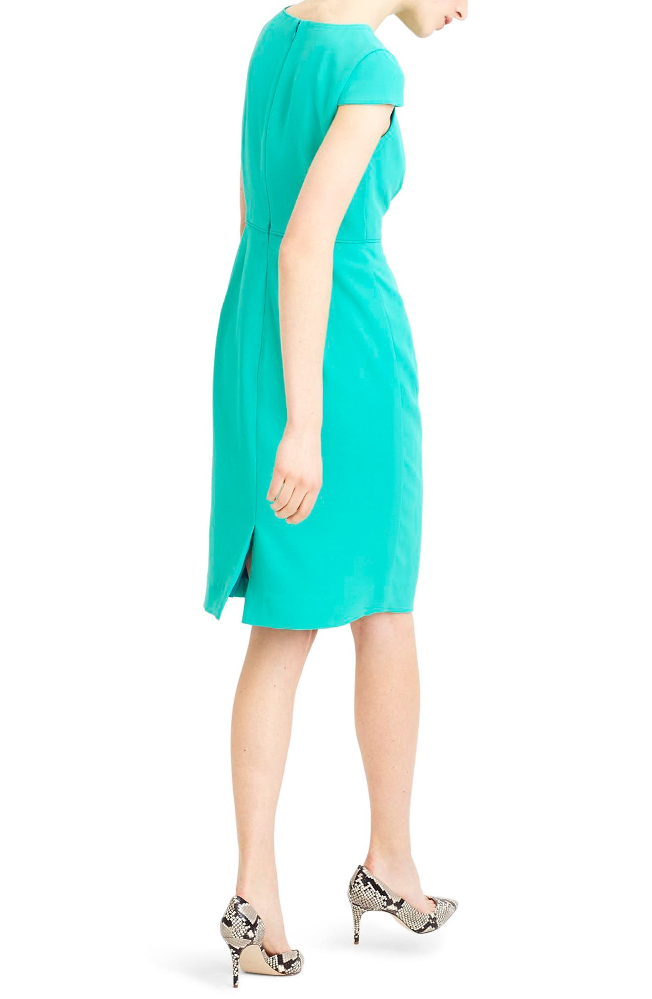 J.Crew Luz Tie Front Crepe Dress,                             Alternate thumbnail 2, color,                             Tropical Marine