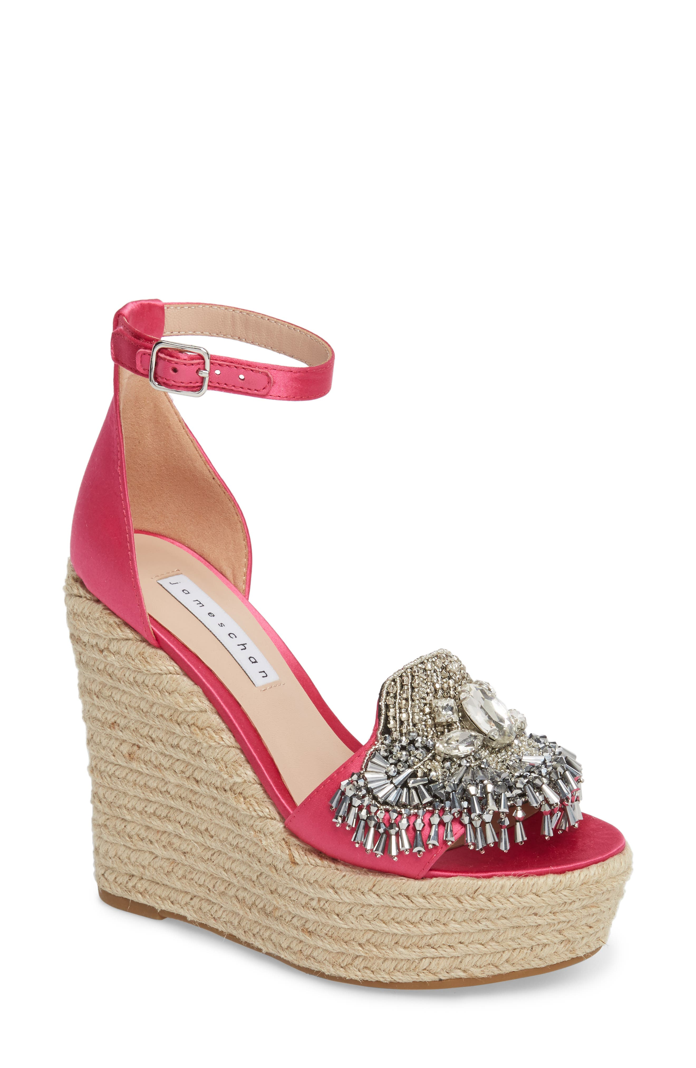Maxim Platform Wedge Sandal,                             Main thumbnail 1, color,                             Posey Satin