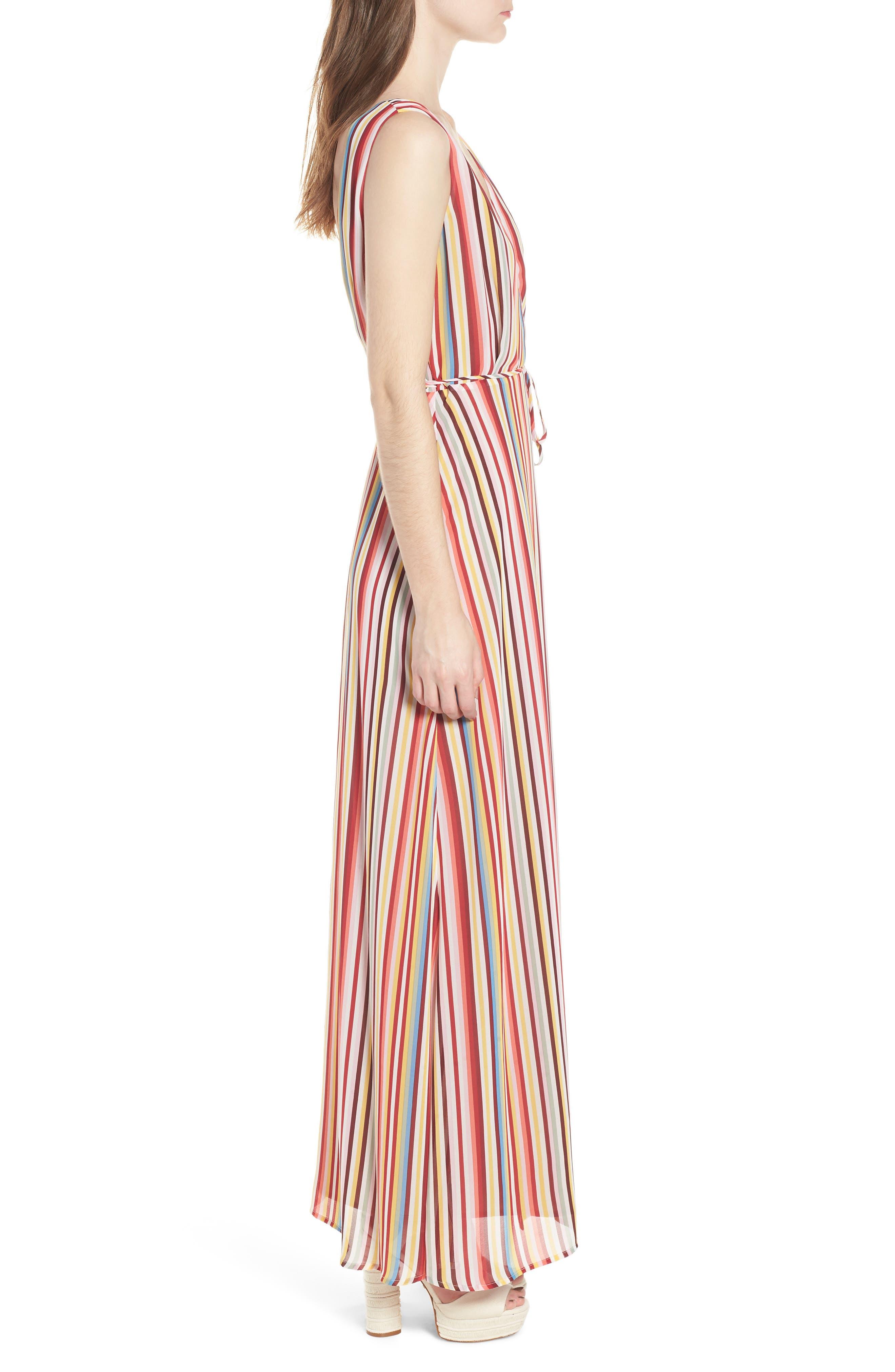 Bobby Wrap Maxi Dress,                             Alternate thumbnail 3, color,                             Red Multi Stripe