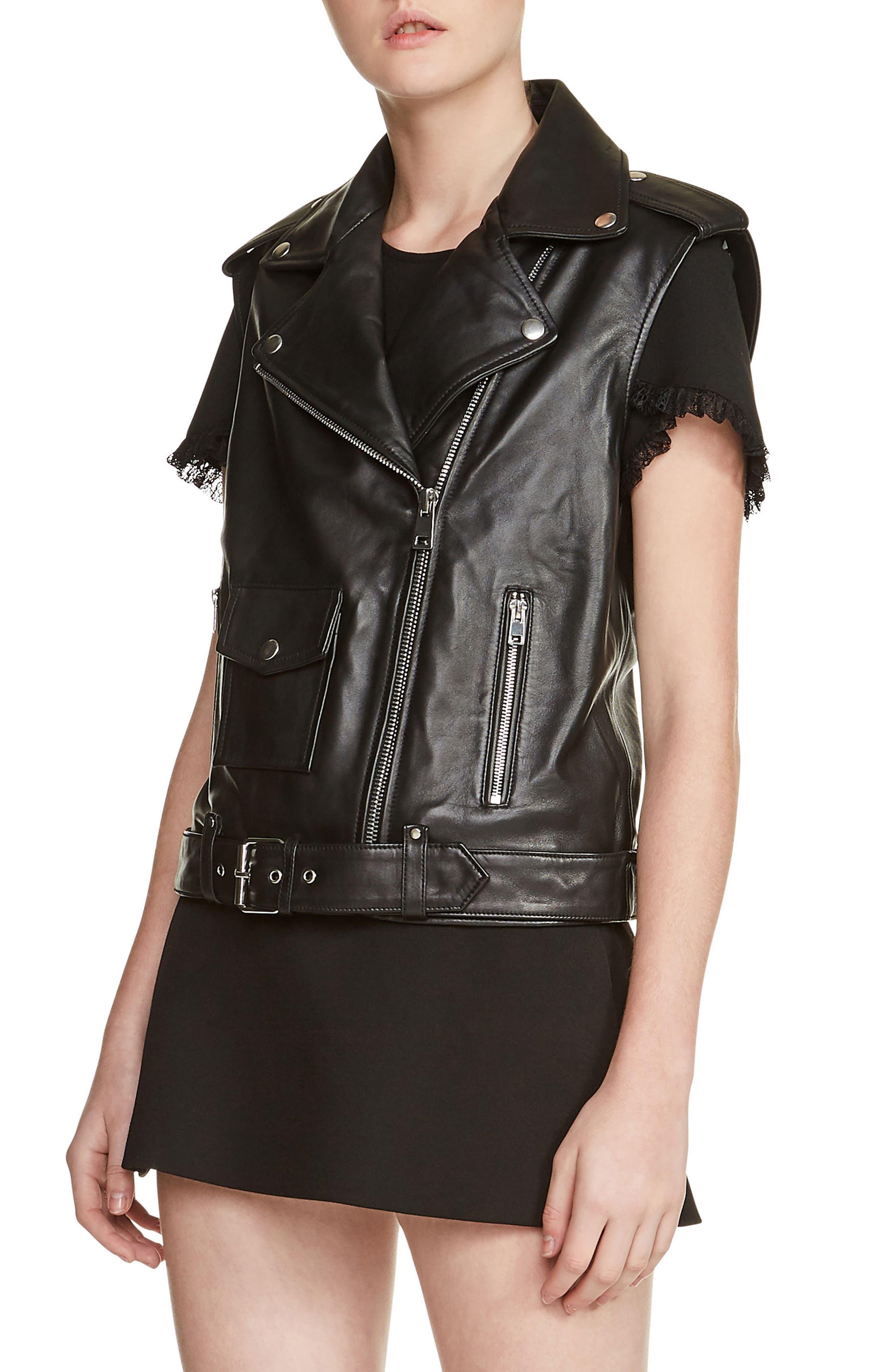 Leather Moto Vest,                         Main,                         color, Black