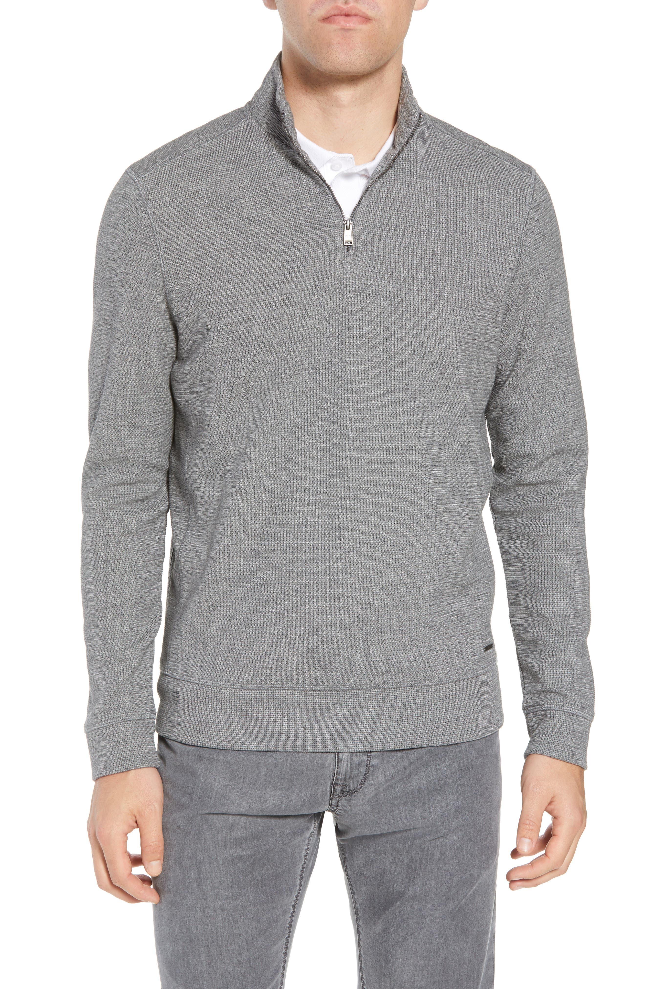 Hugo Boss Regular Fit Sidney Quarter Zip Pullover,                         Main,                         color, Grey