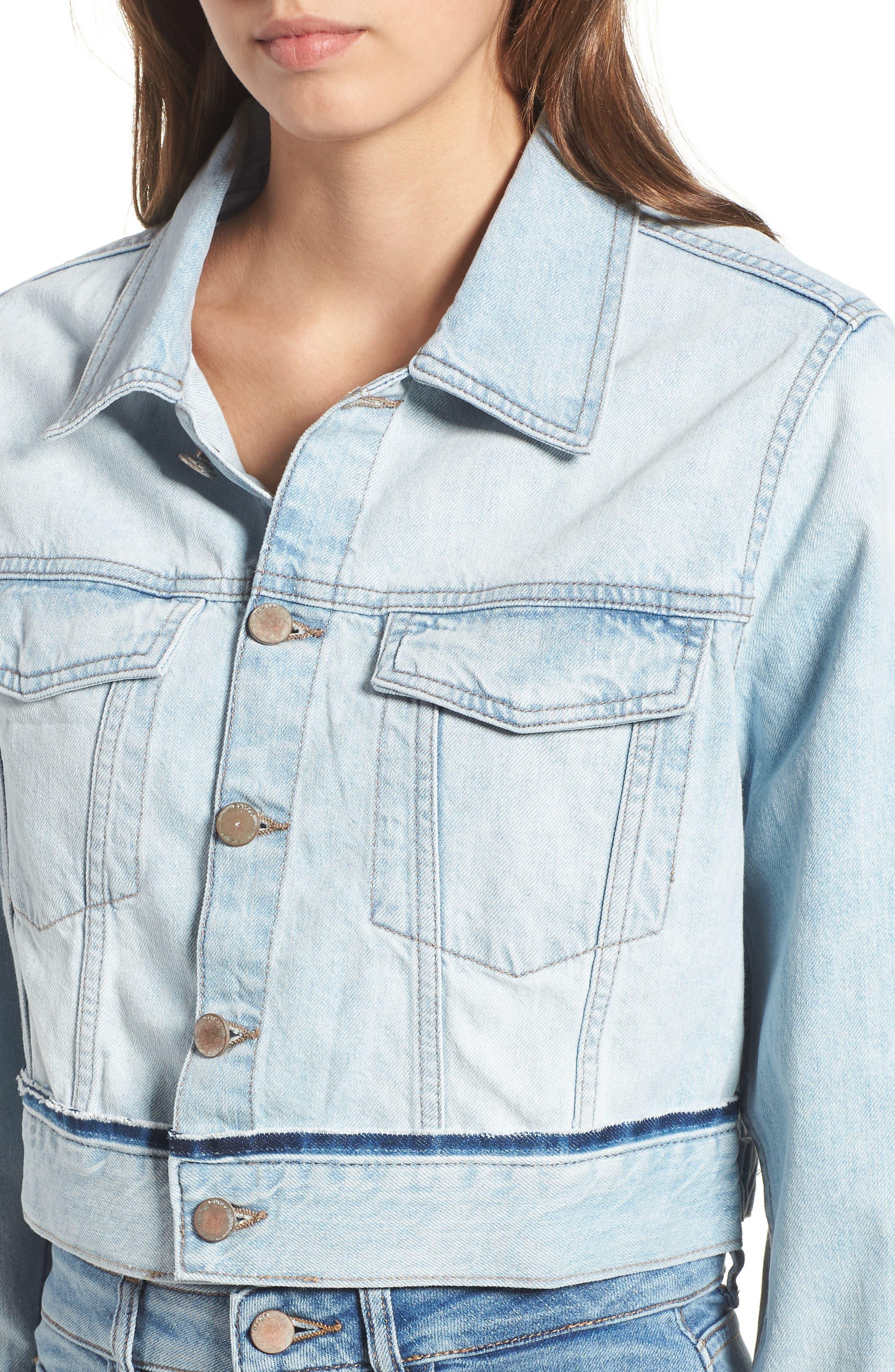 Shawn Crop Boyfriend Denim Jacket,                             Alternate thumbnail 4, color,                             Graceland