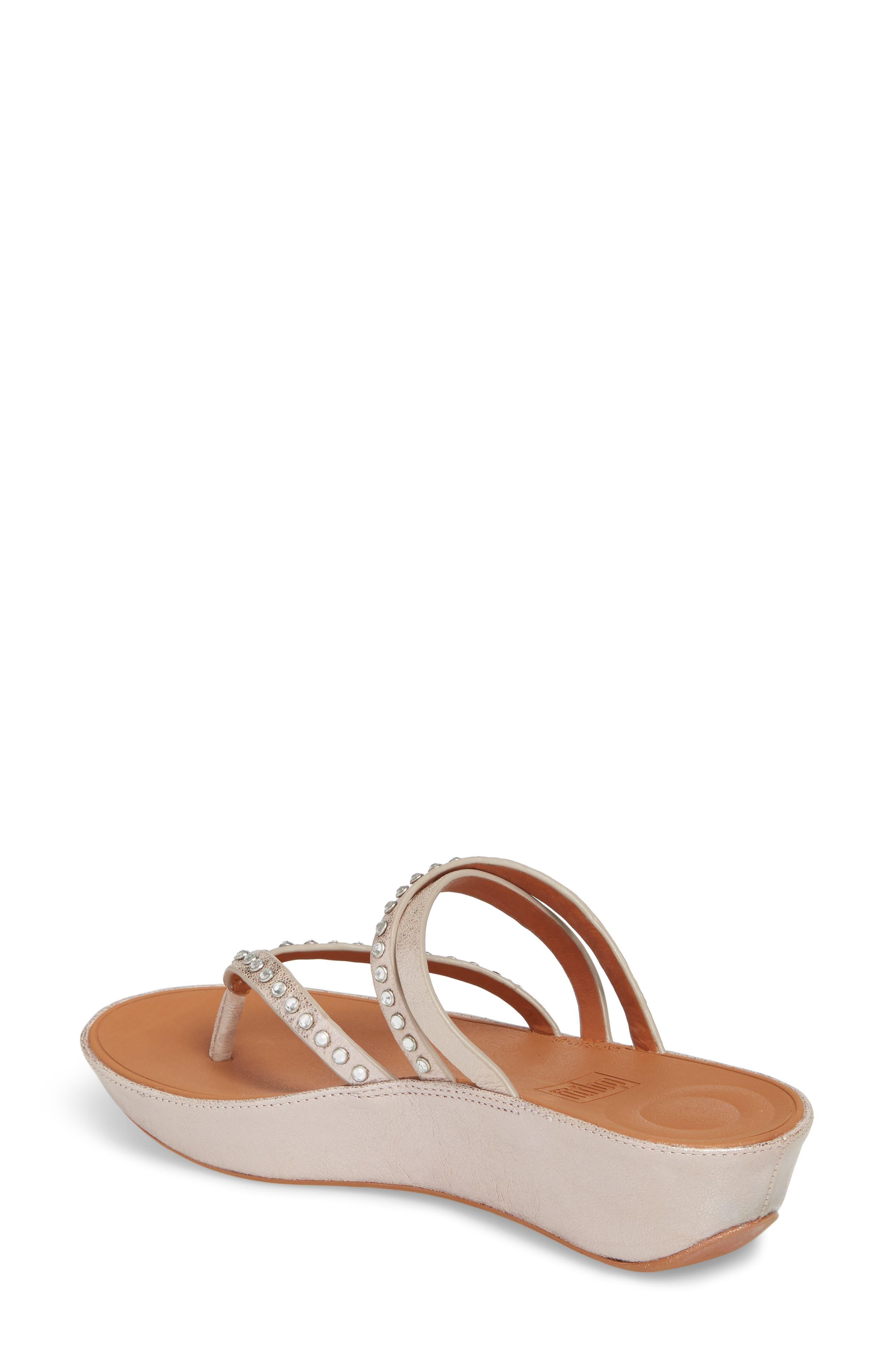 Linny Embellished Slide Sandal,                             Alternate thumbnail 2, color,                             Blush/ Metallic Nude Leather
