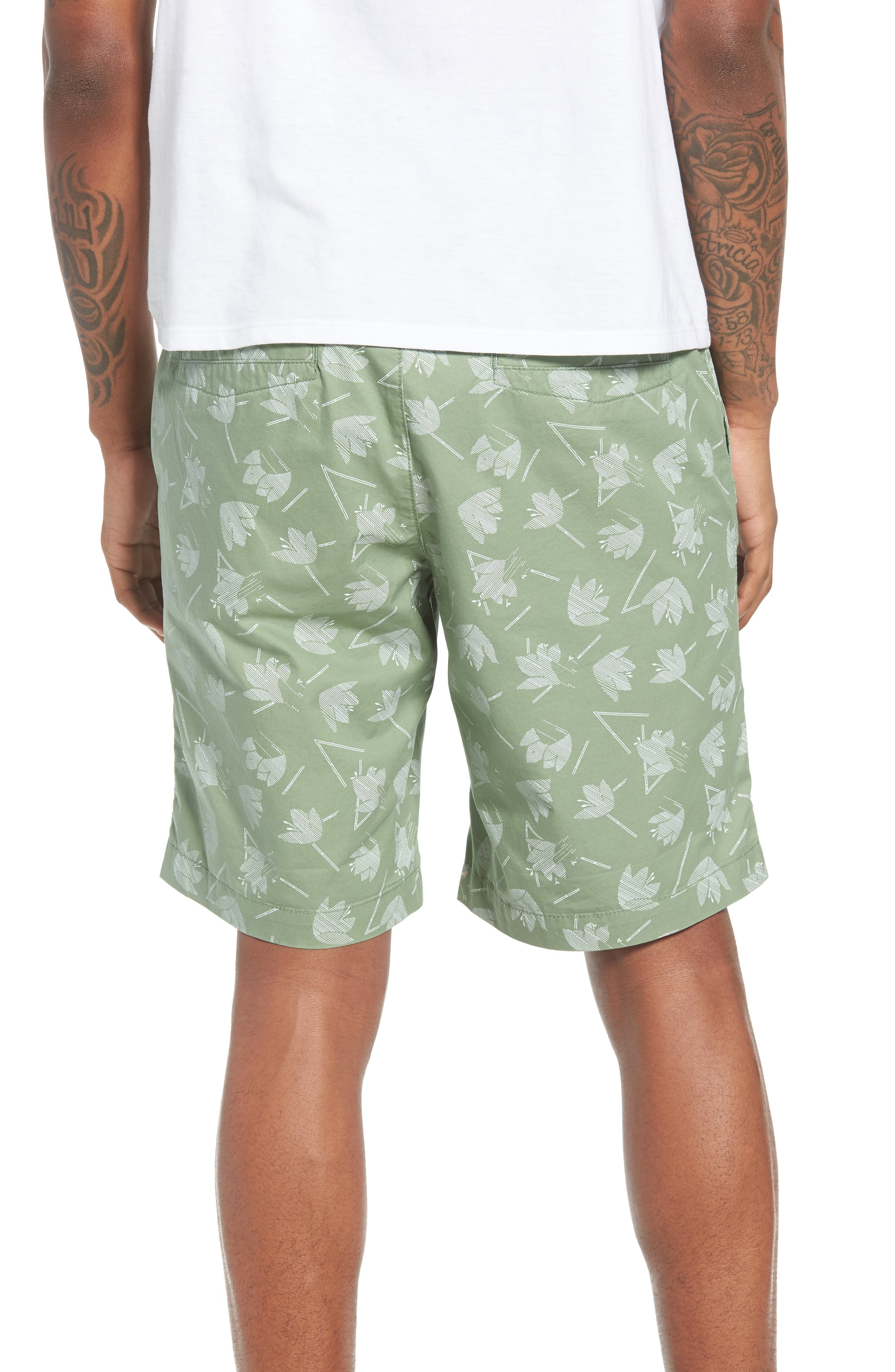 Deco Floral Print Shorts,                             Alternate thumbnail 2, color,                             Green Hedge Deco Floral