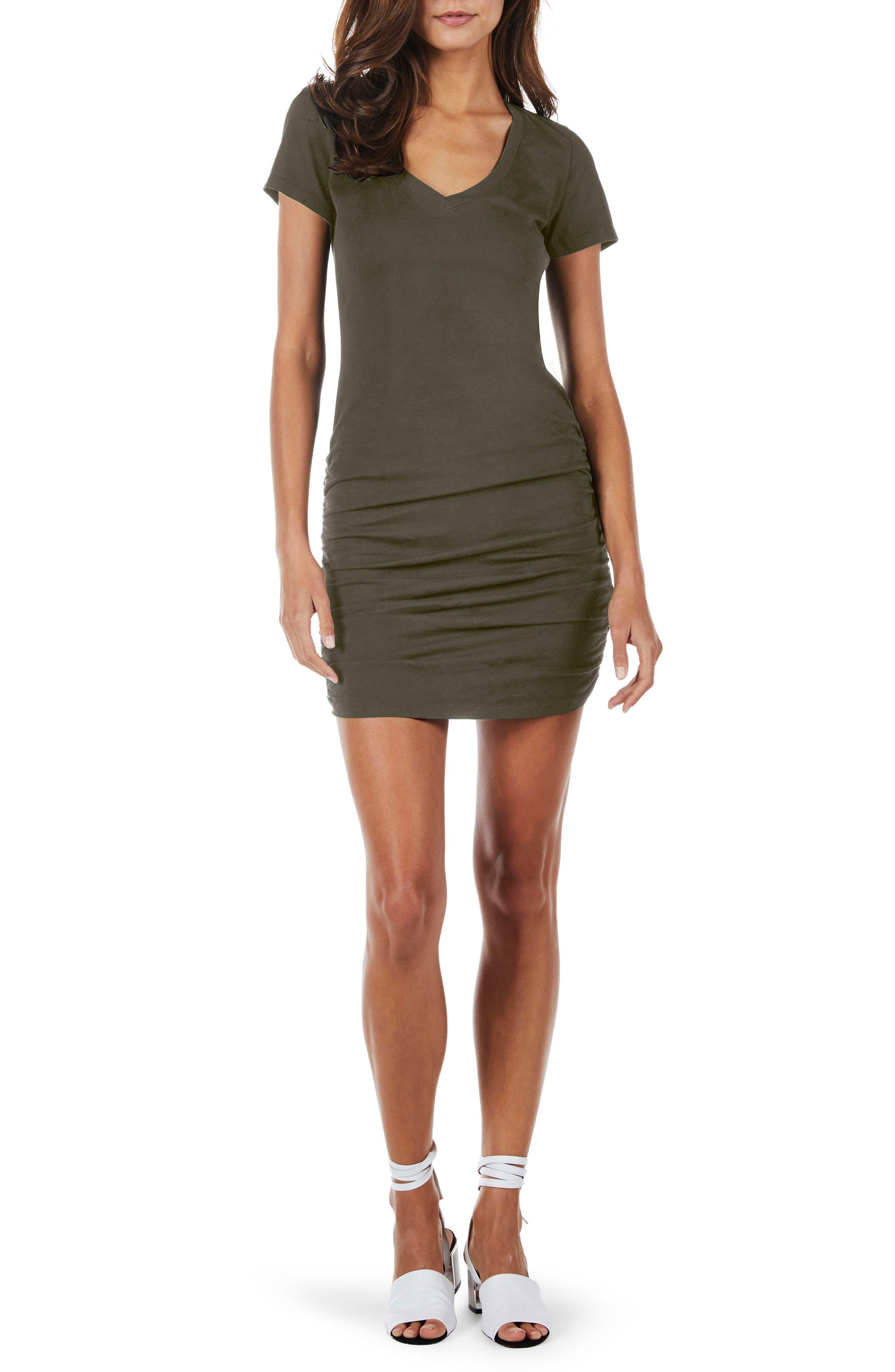 Ruched V-Neck Jersey Minidress,                             Main thumbnail 1, color,                             Camo