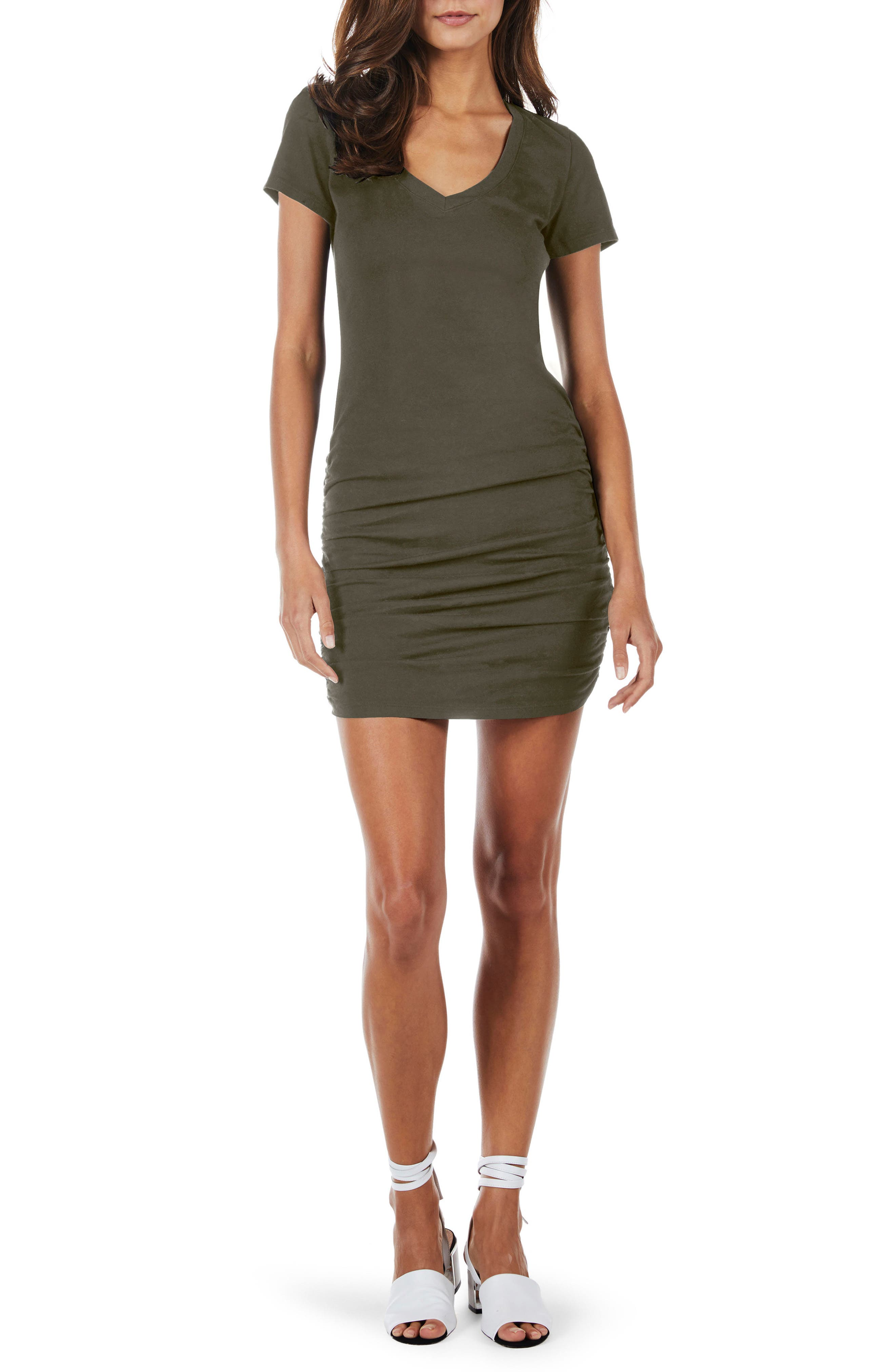Ruched V-Neck Jersey Minidress,                         Main,                         color, Camo