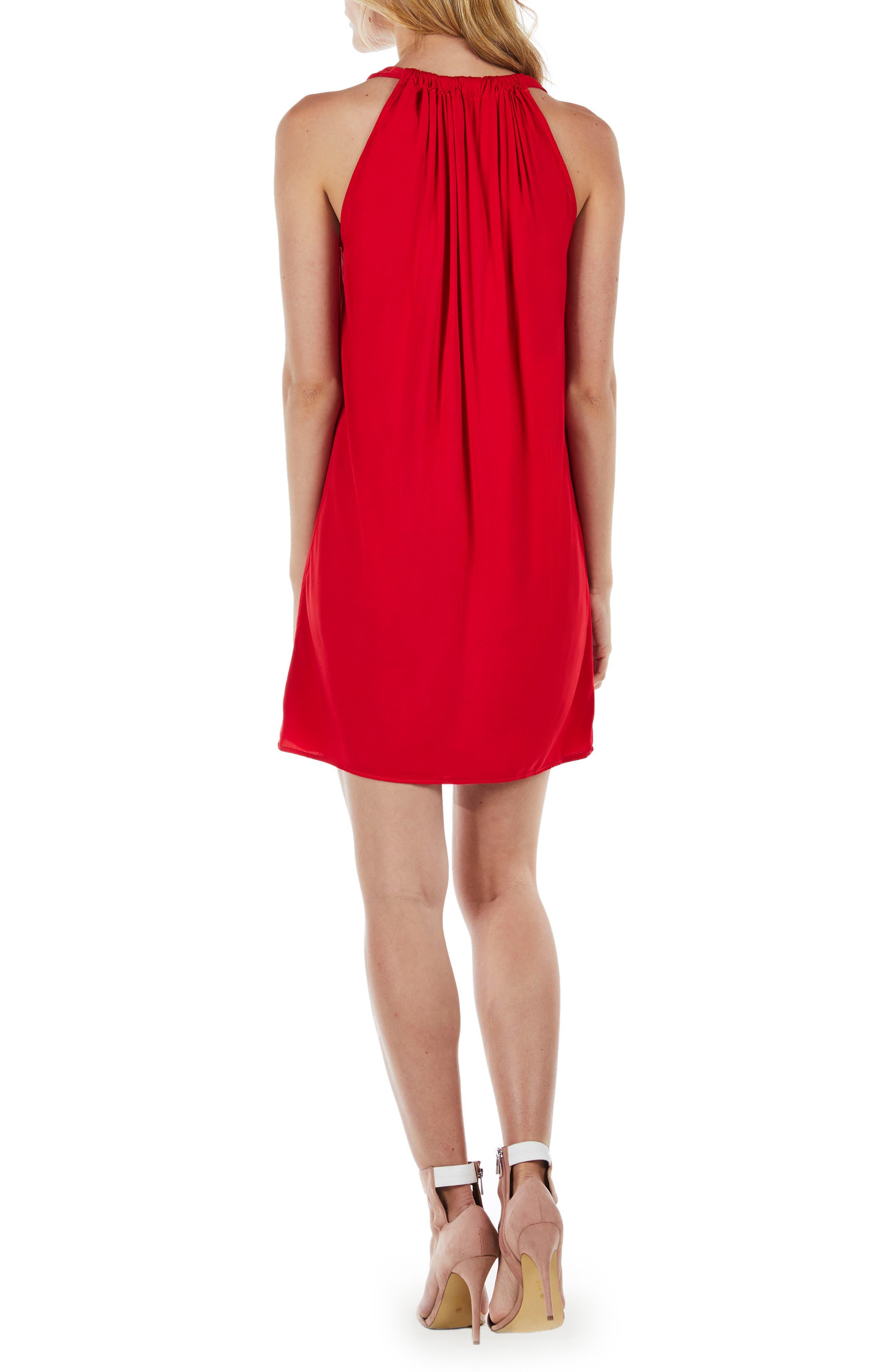 Draped Halter Mini Dress,                             Alternate thumbnail 2, color,                             Salsa