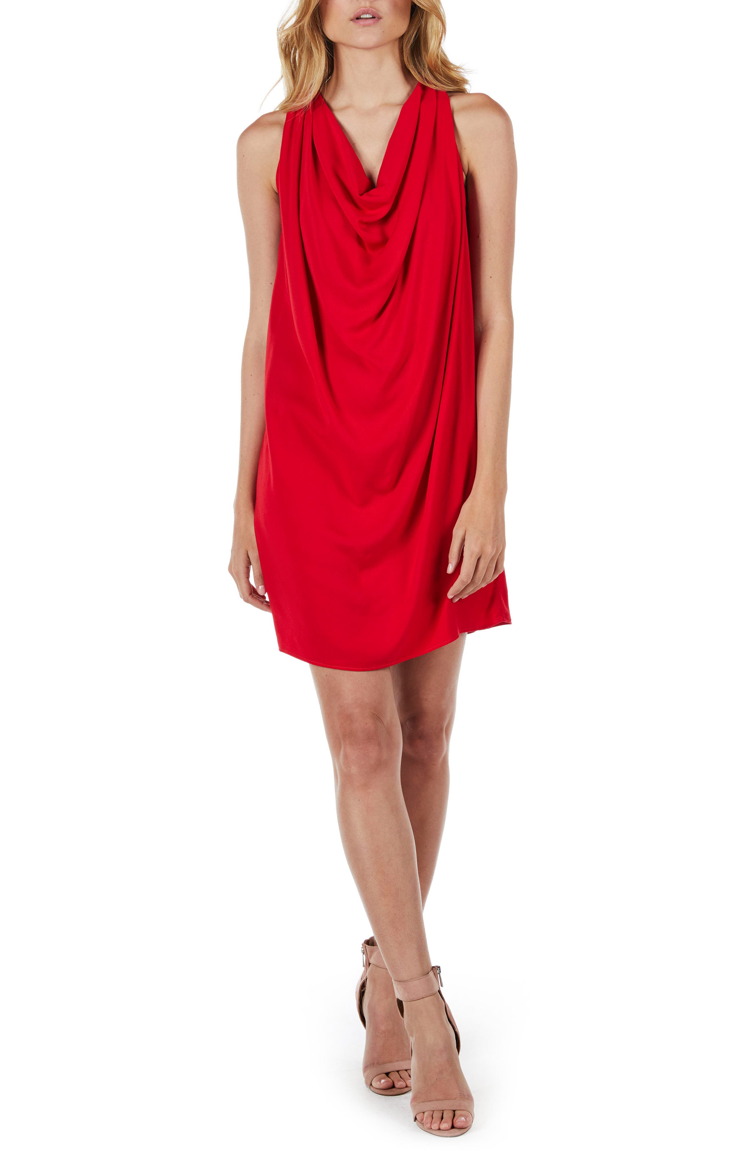 Draped Halter Mini Dress,                         Main,                         color, Salsa