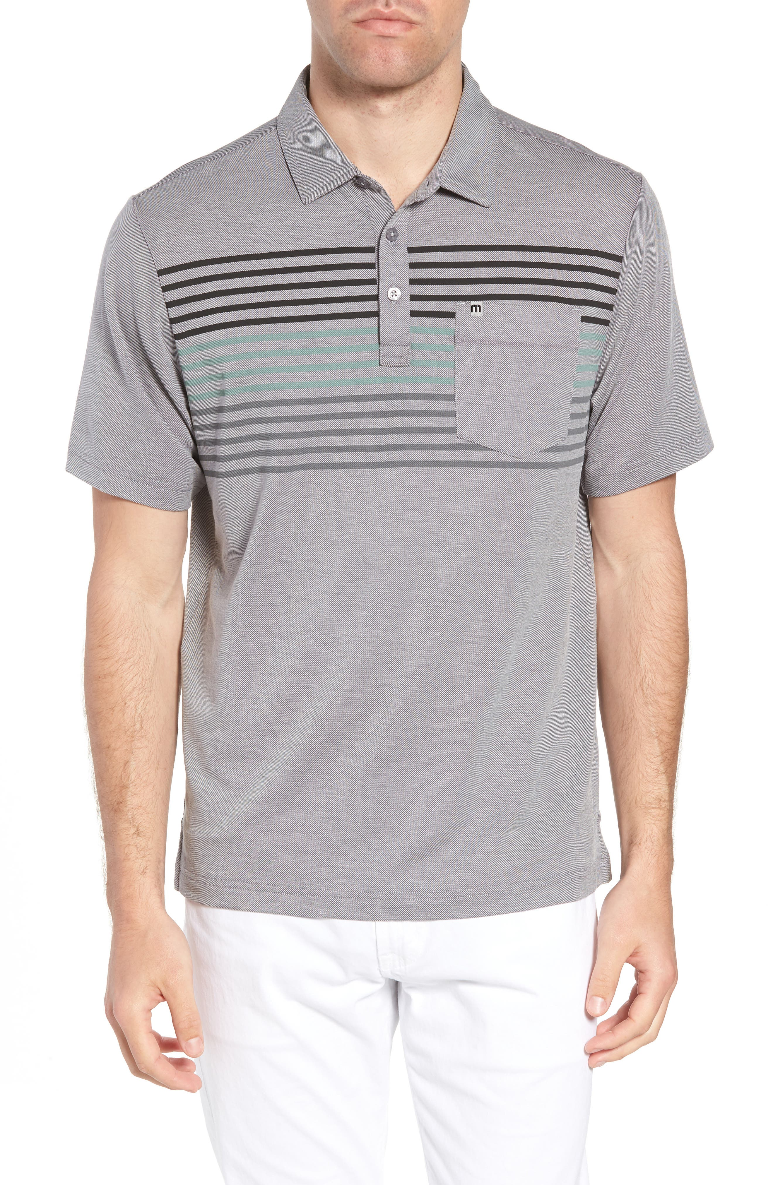 Whitney Regular Fit Stripe Piqué Polo,                             Main thumbnail 1, color,                             Heather Quiet Shade