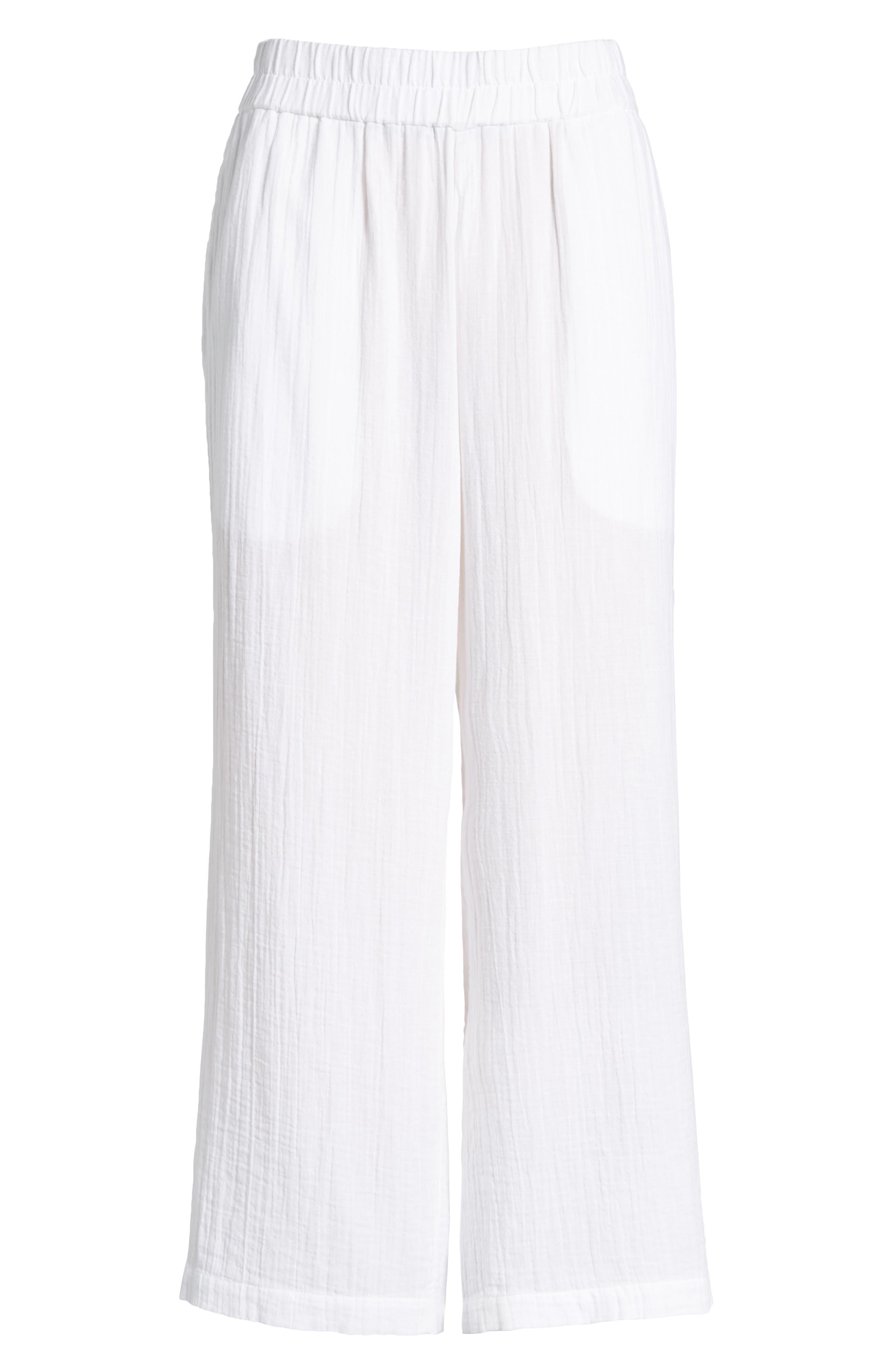 Straight Leg Organic Cotton Pants,                             Alternate thumbnail 7, color,                             White