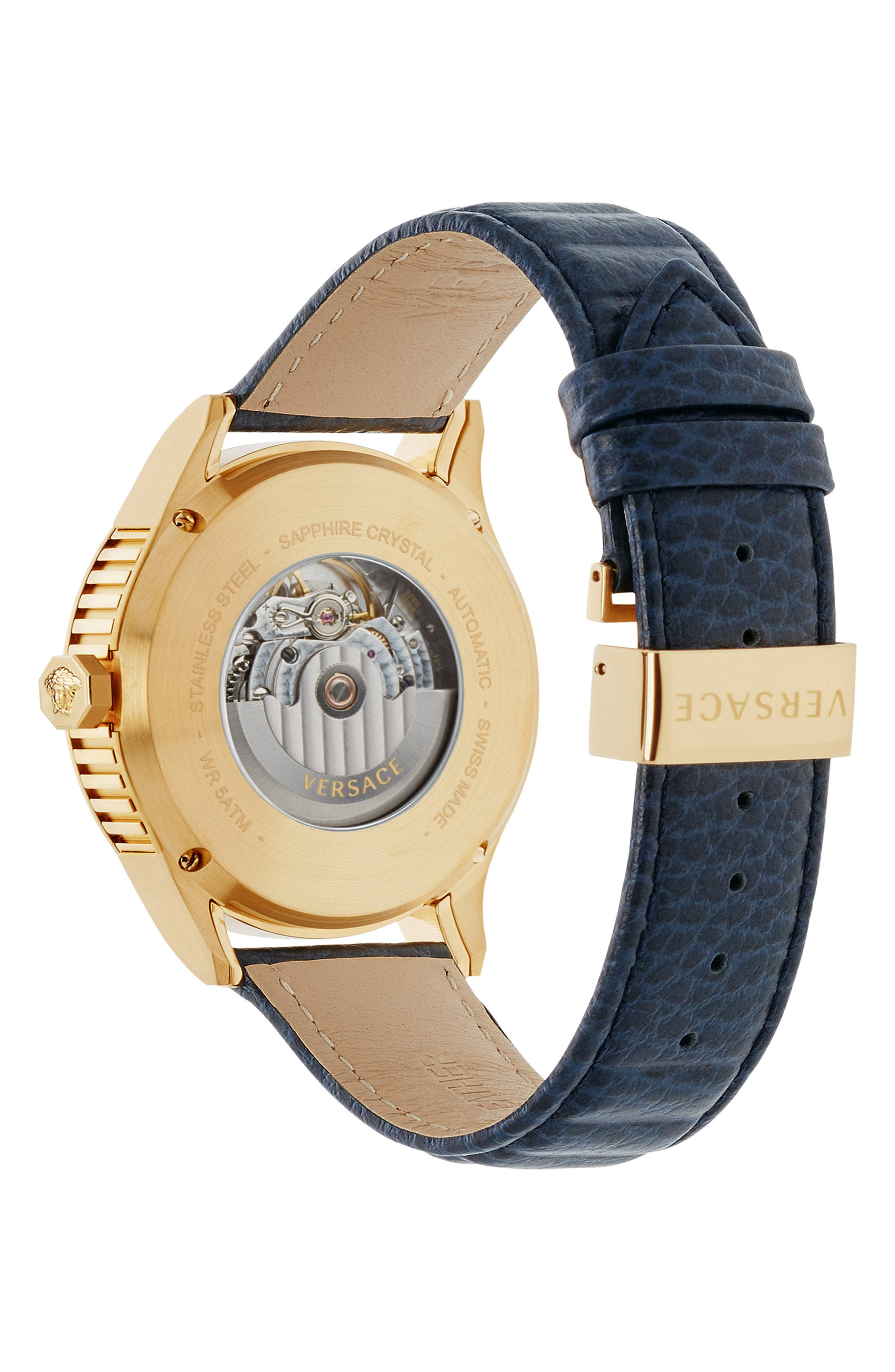 Aiakos Automatic Leather Strap Watch, 44mm,                             Alternate thumbnail 2, color,                             Blue/ Gold