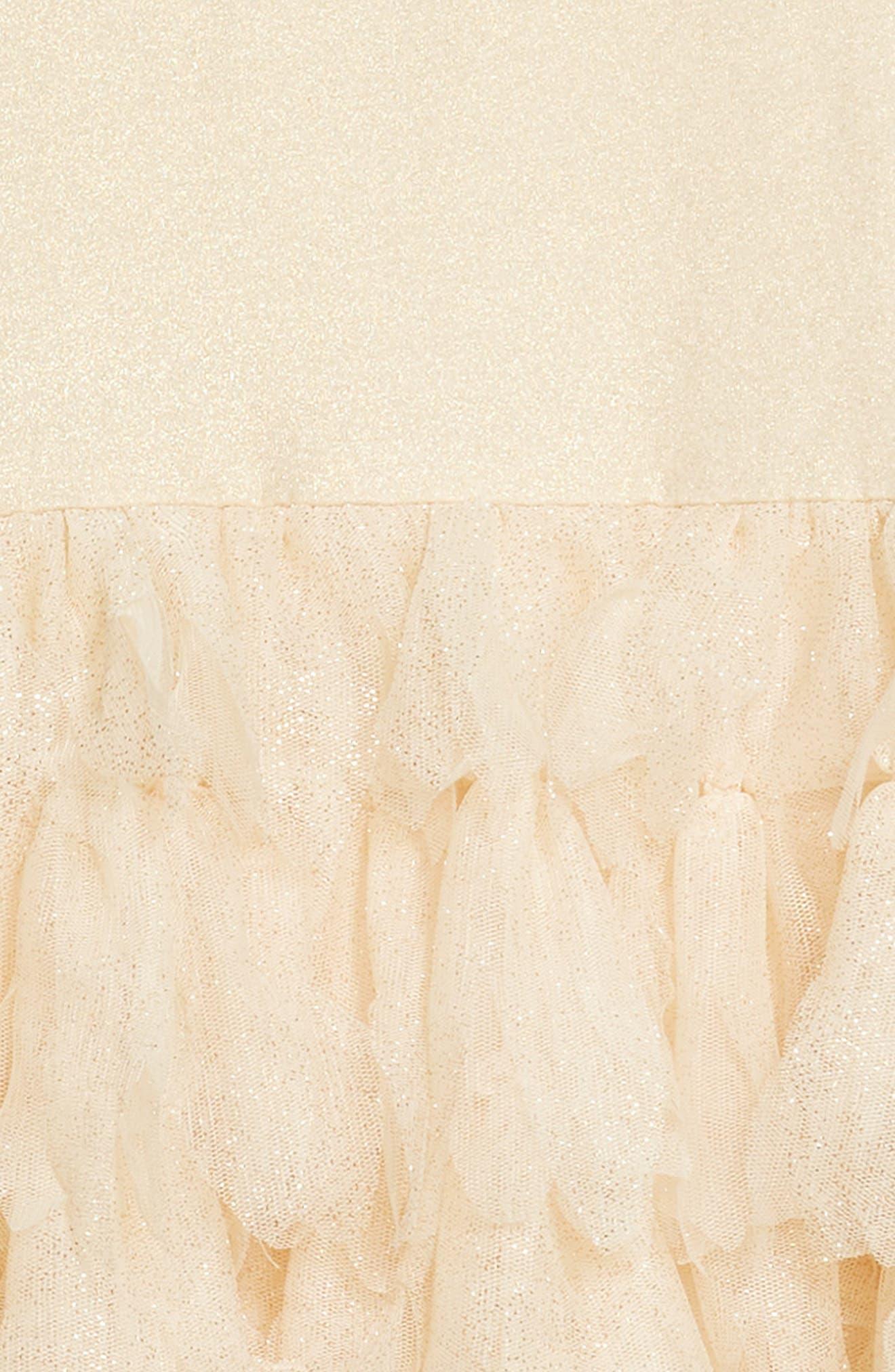 Sleeveless Tulle Dress,                             Alternate thumbnail 3, color,                             Gold