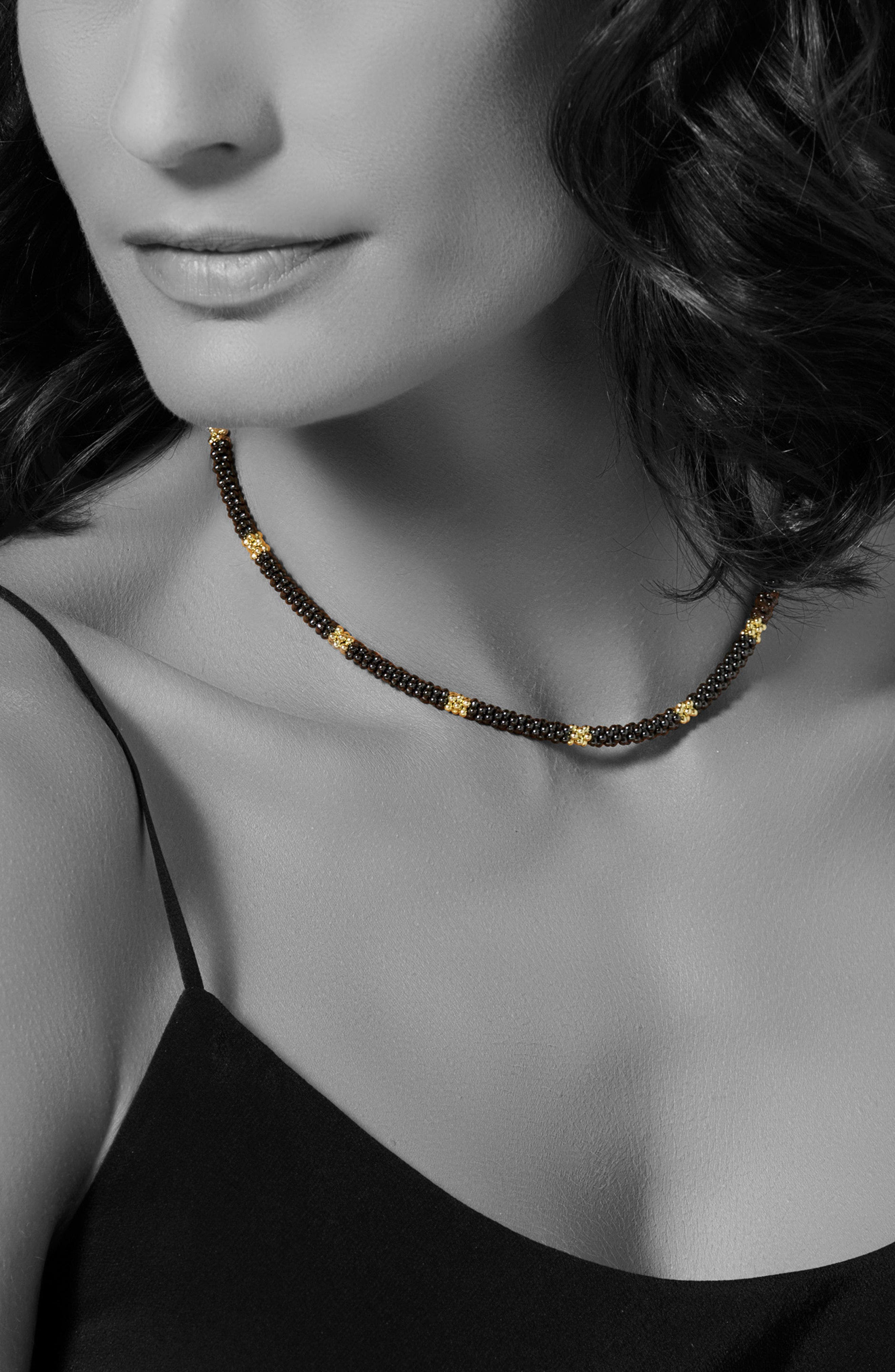 18K Gold & Black Caviar Bead Rope Necklace,                             Alternate thumbnail 2, color,                             Gold