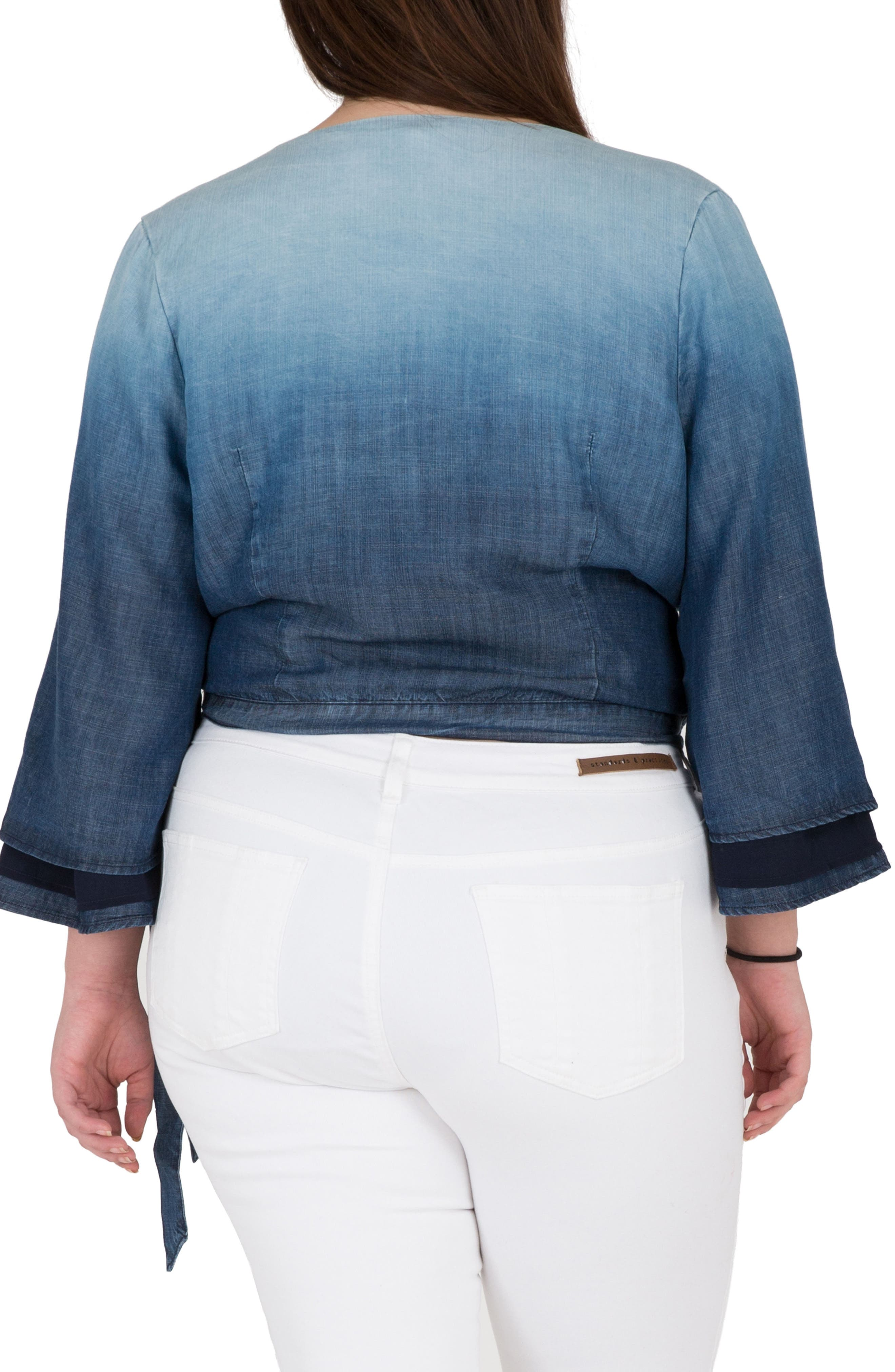Lily Ombré Denim Wrap Crop Top,                             Alternate thumbnail 2, color,                             Medium Blue
