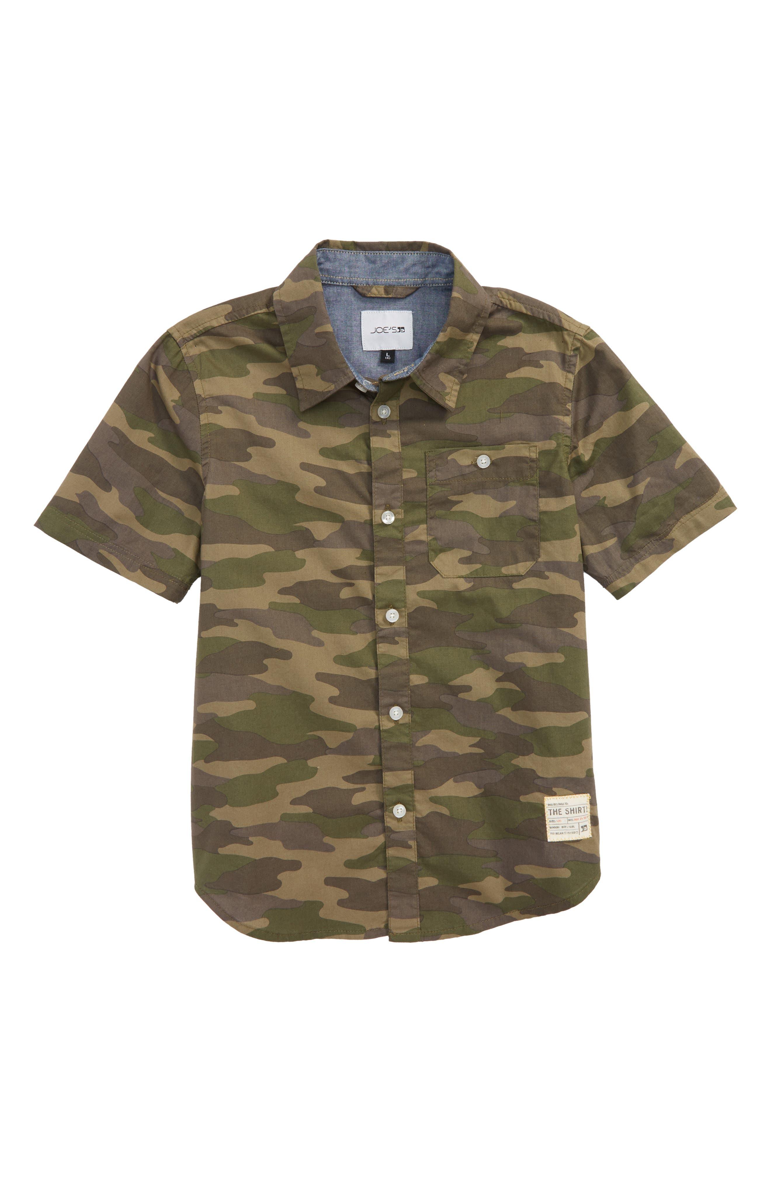 Aiden Camo Print Shirt,                             Main thumbnail 1, color,                             Camouflage
