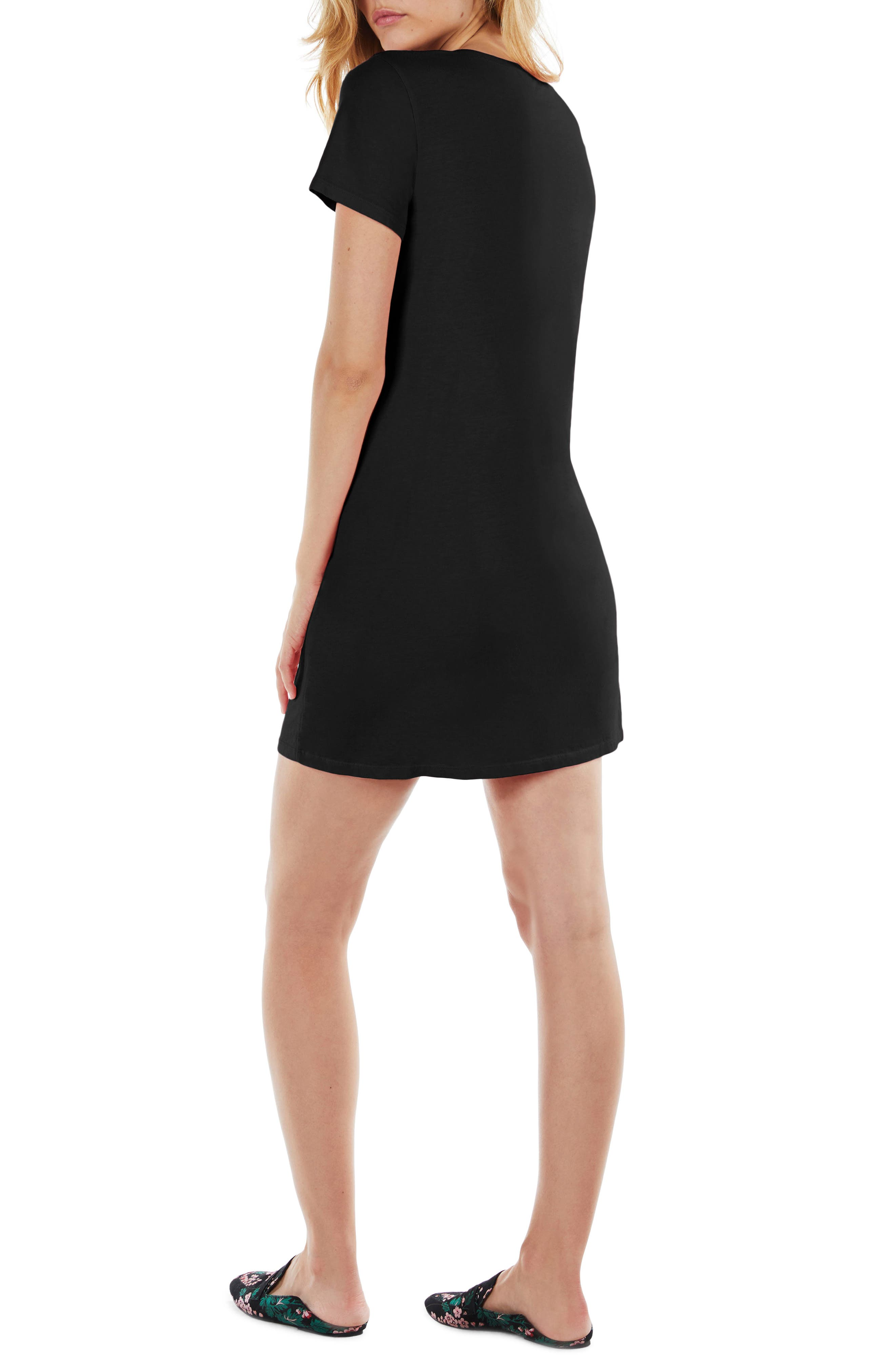 Strappy V-Neck Shift Dress,                             Alternate thumbnail 2, color,                             Black