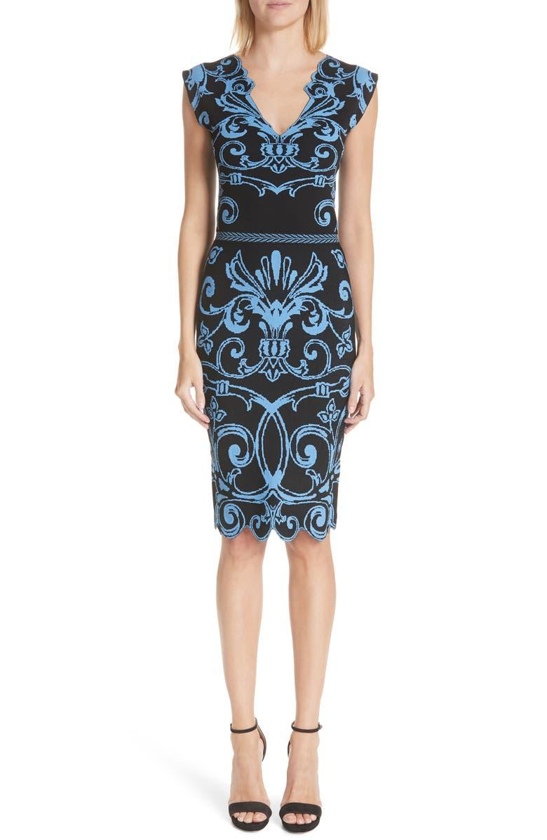 Scroll Pattern Body-Con Dress