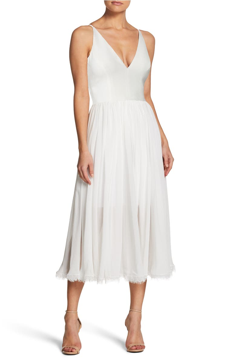 Alicia Mixed Media Midi Dress, Main, color, Off White