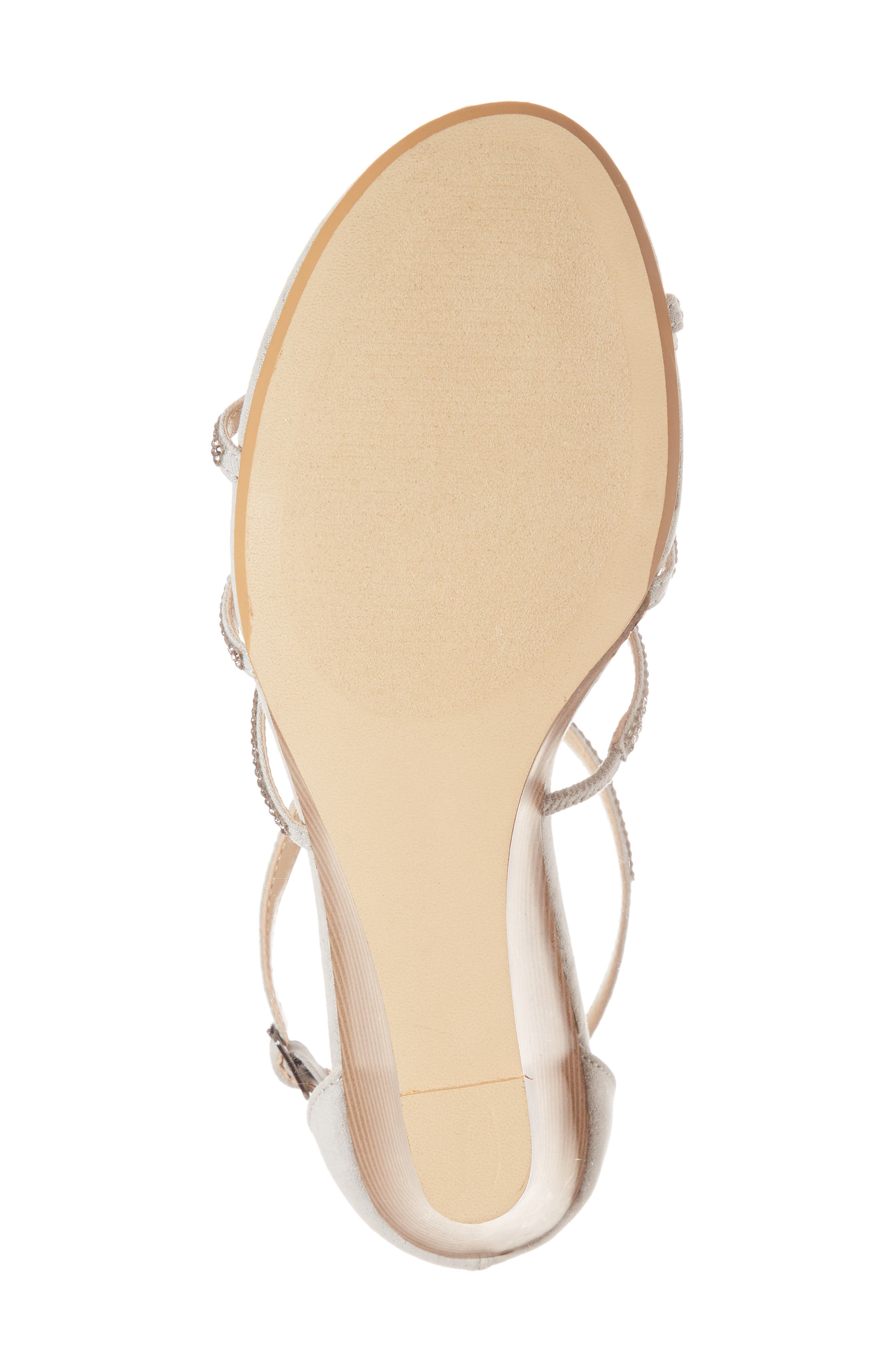Hampton Crystal Embellished Wedge Sandal,                             Alternate thumbnail 6, color,                             Grey Suede