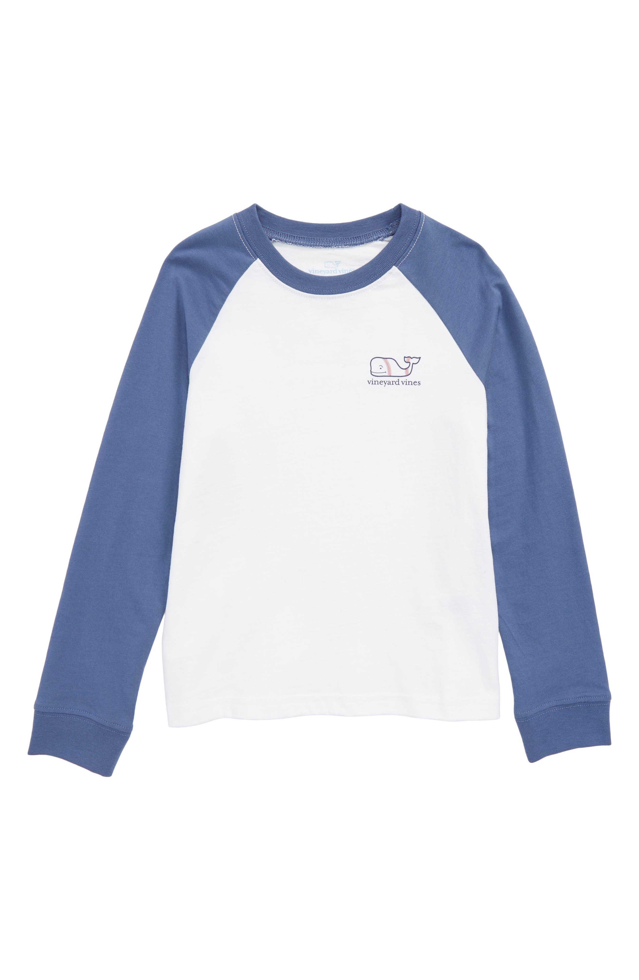 Whale Baseball T-Shirt,                         Main,                         color, White Cap