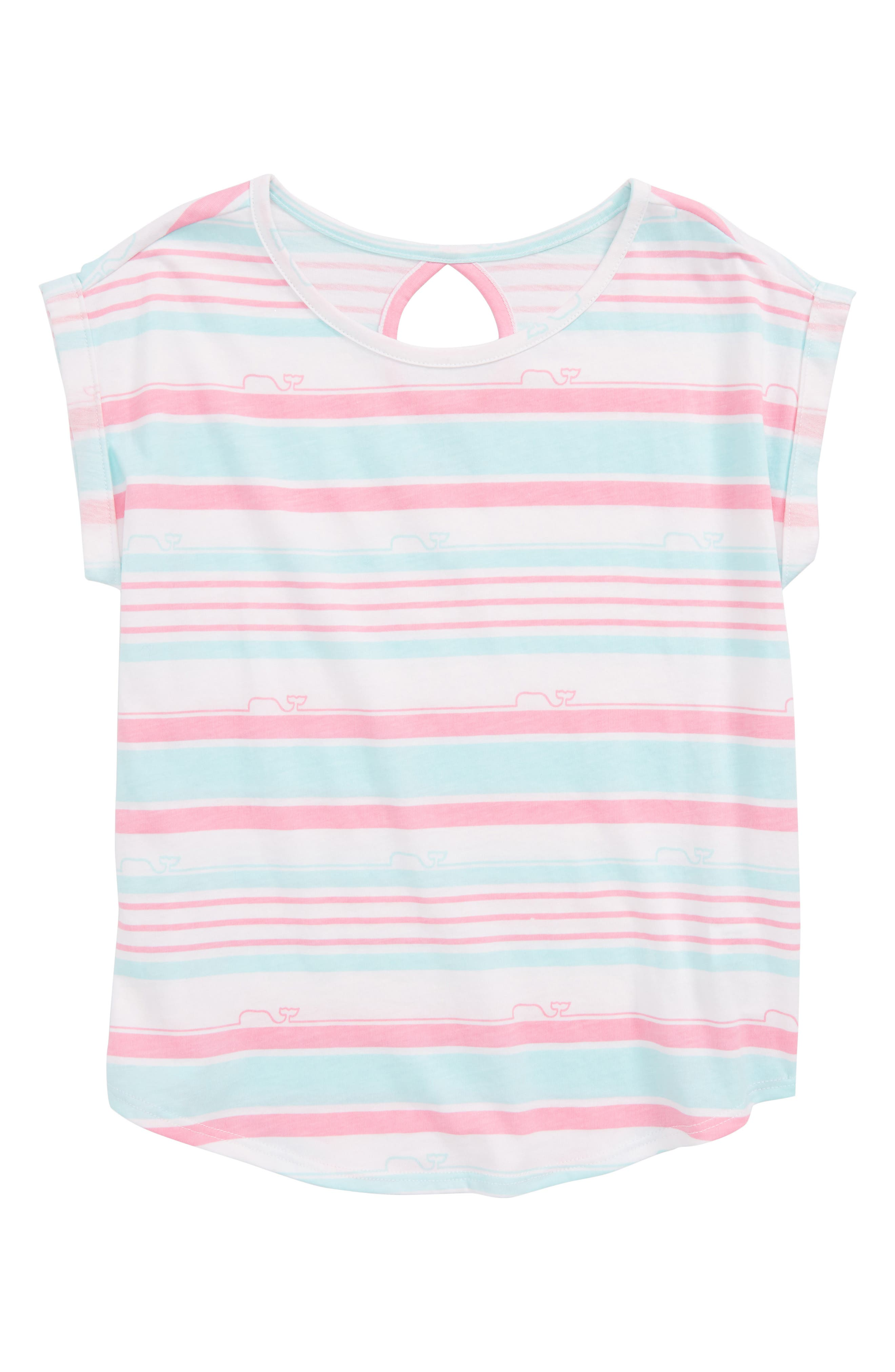 Whale Stripe Tee,                         Main,                         color, Cupcake