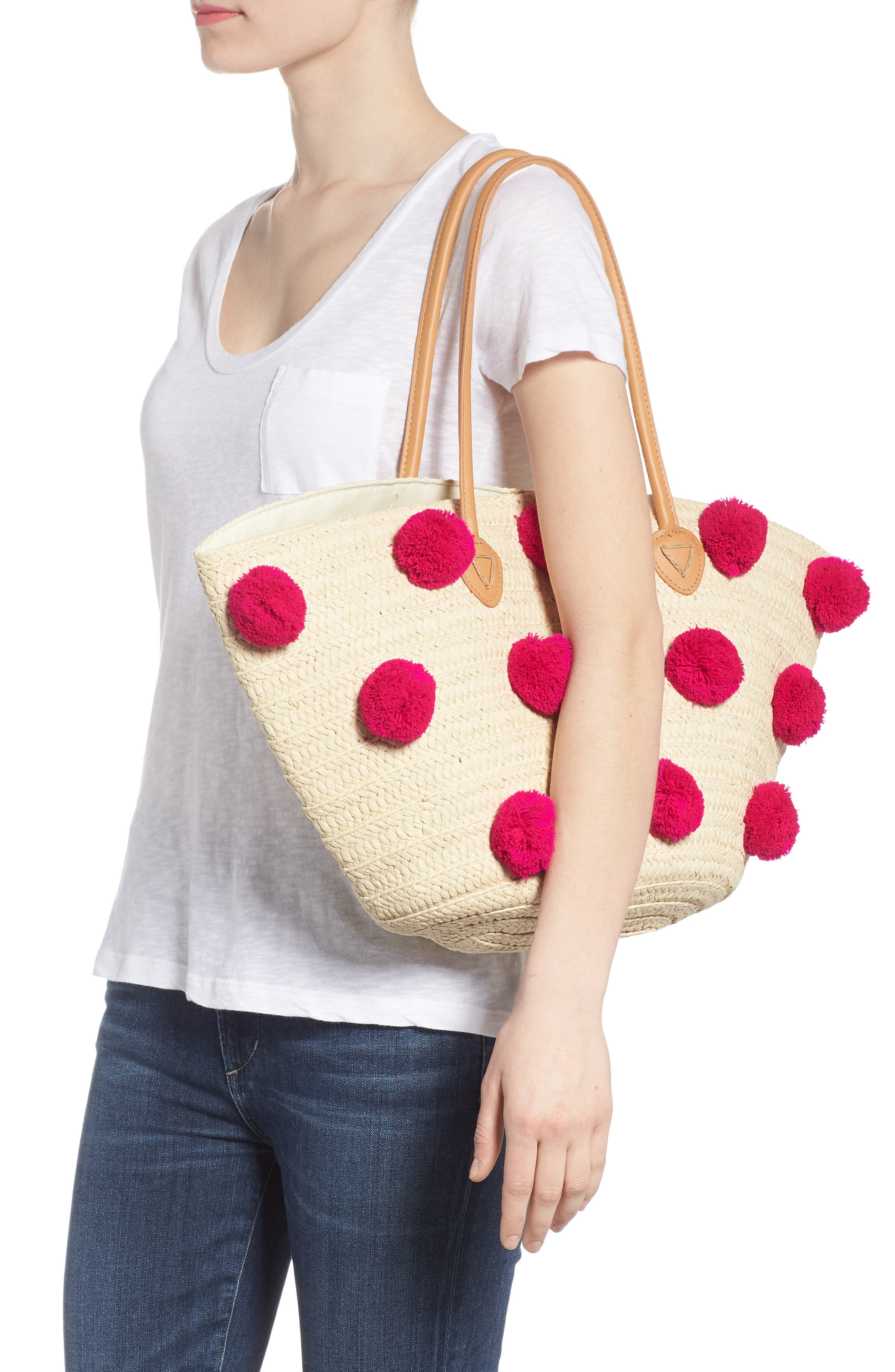 Klo Pompom Straw Tote,                             Alternate thumbnail 2, color,                             Pink