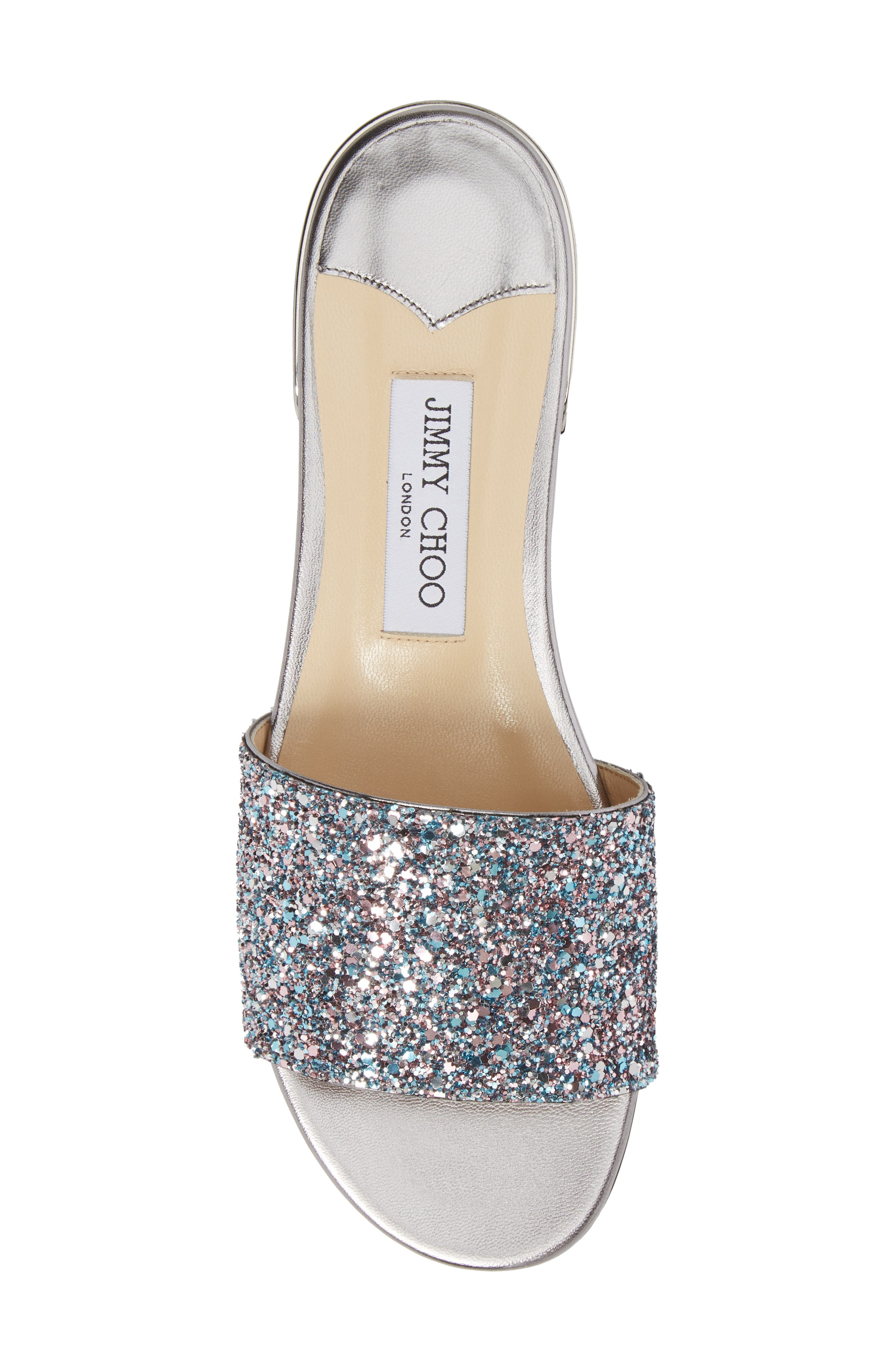 Joni Embellished Slide Sandal,                             Alternate thumbnail 5, color,                             Blush Silver
