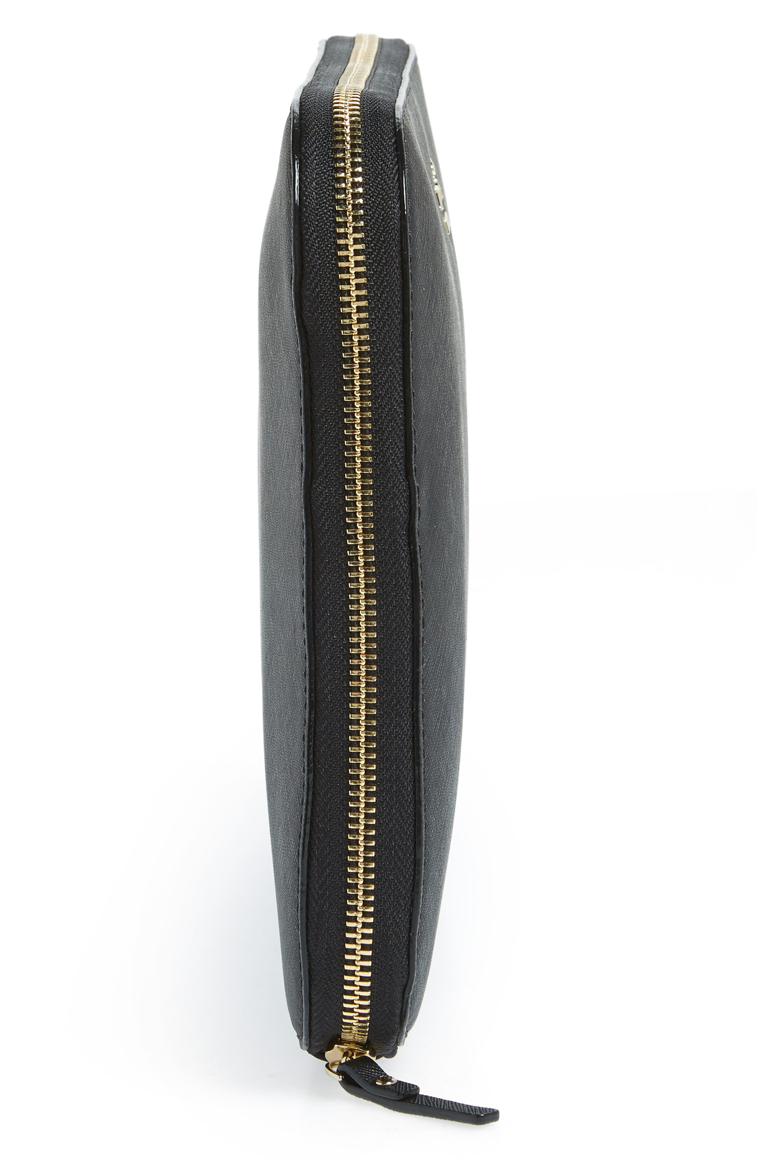 saffiano leather organization tablet sleeve,                             Alternate thumbnail 3, color,                             Black