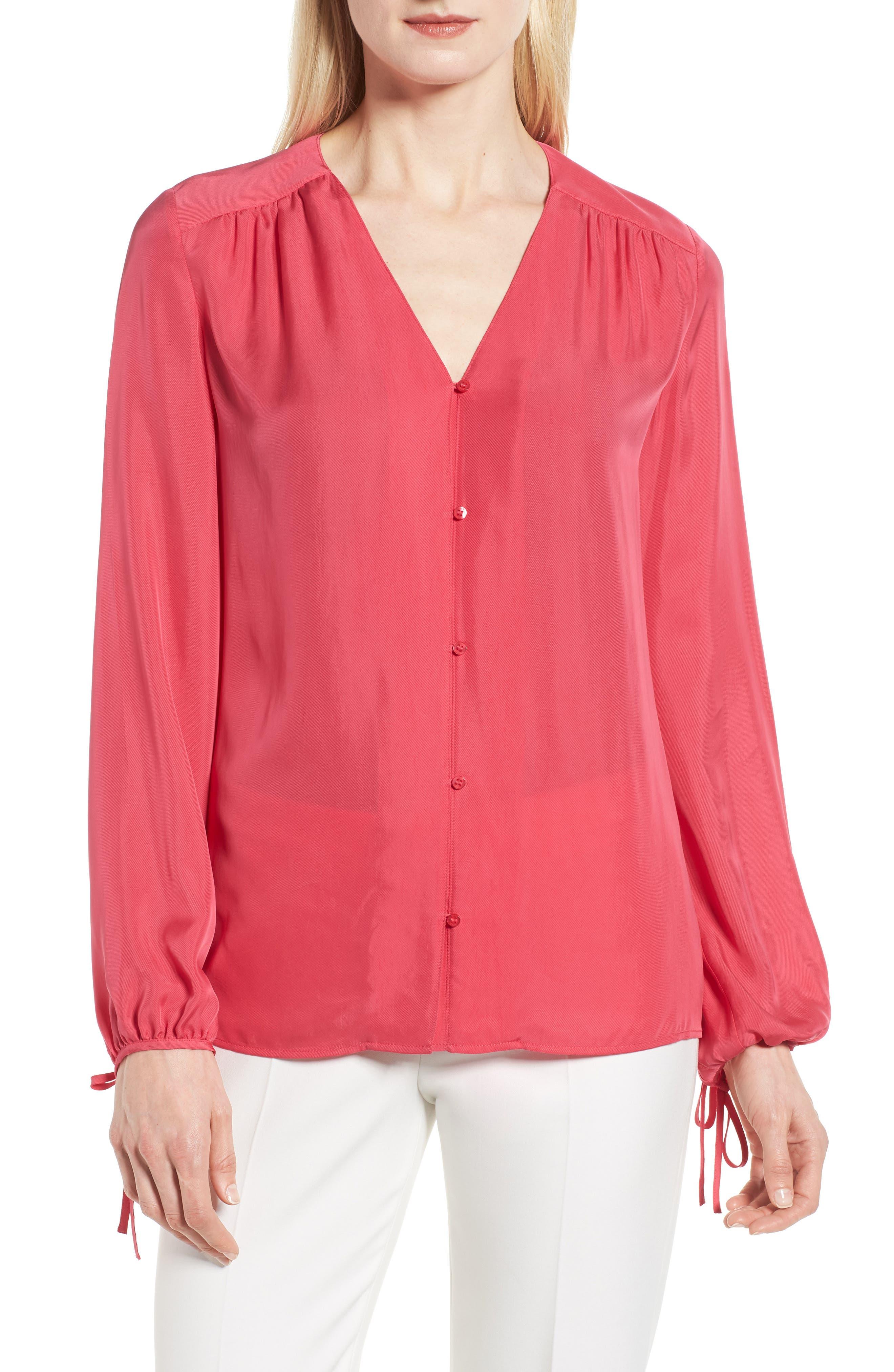 Rosalia Blouse,                         Main,                         color, Lychee Pink