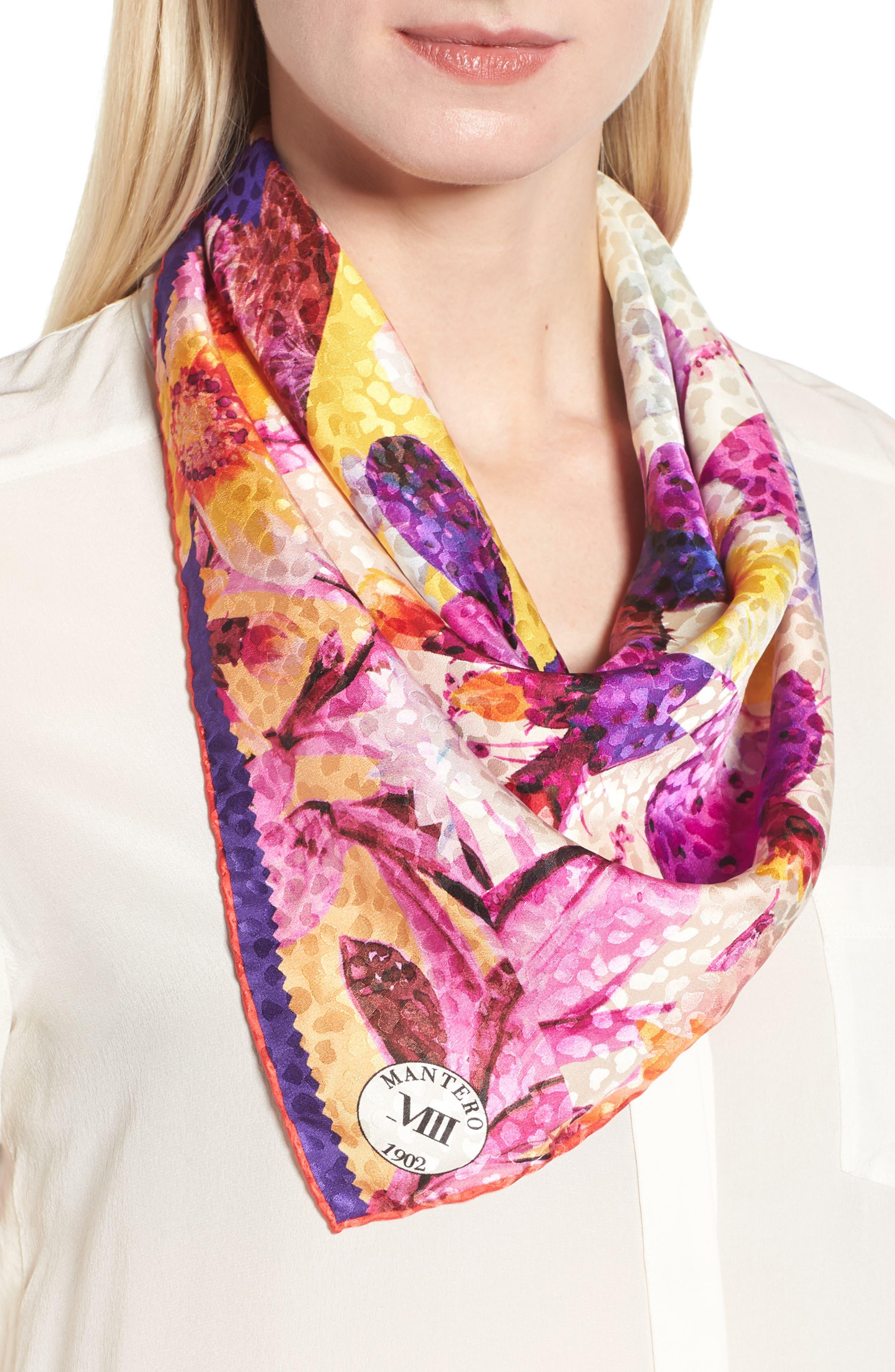 Icona del Sud Square Silk Scarf,                         Main,                         color, Cream/ Purple