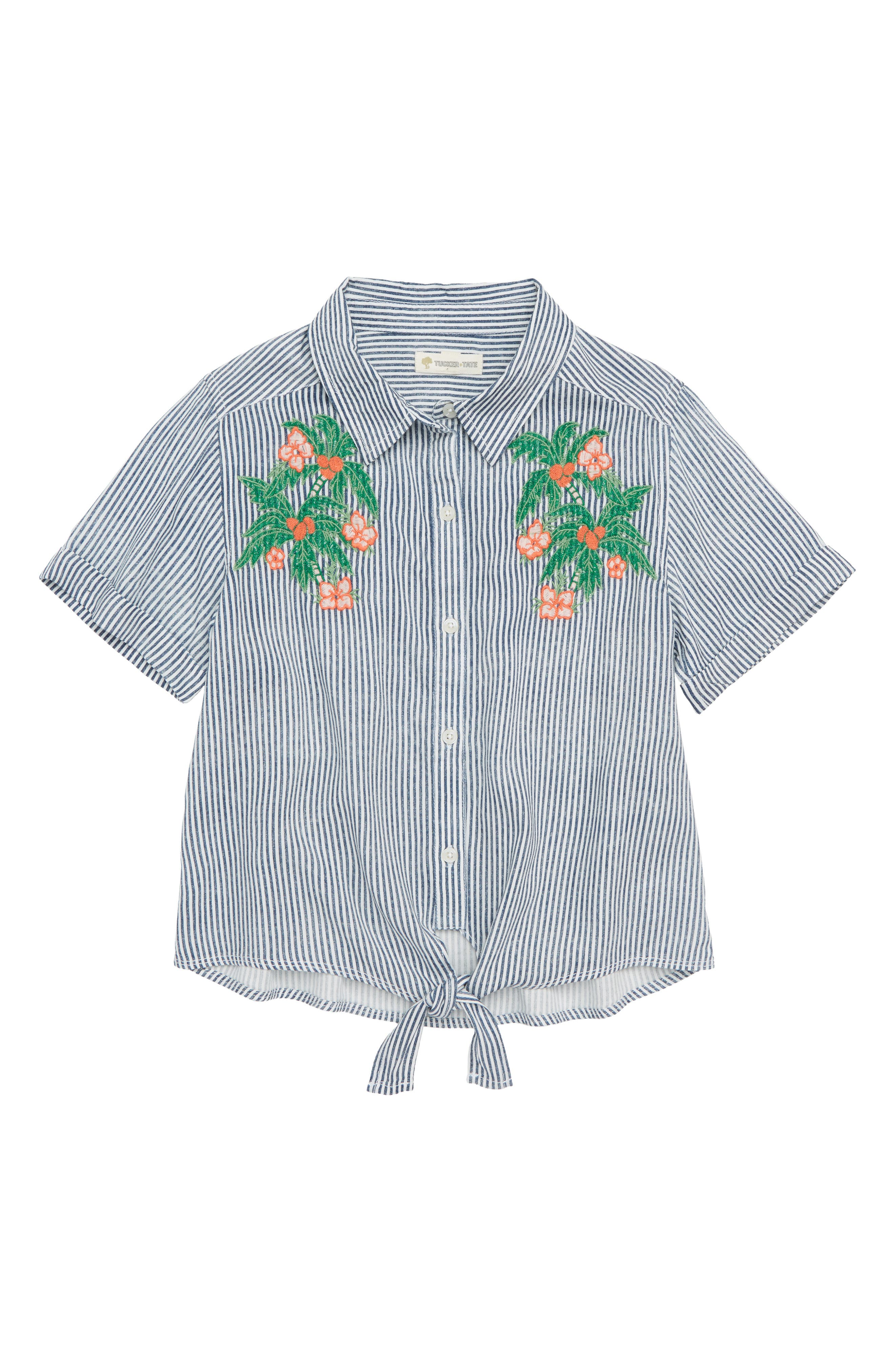 Alternate Image 1 Selected - Tucker + Tate Embroidered Stripe Top (Big Girls)