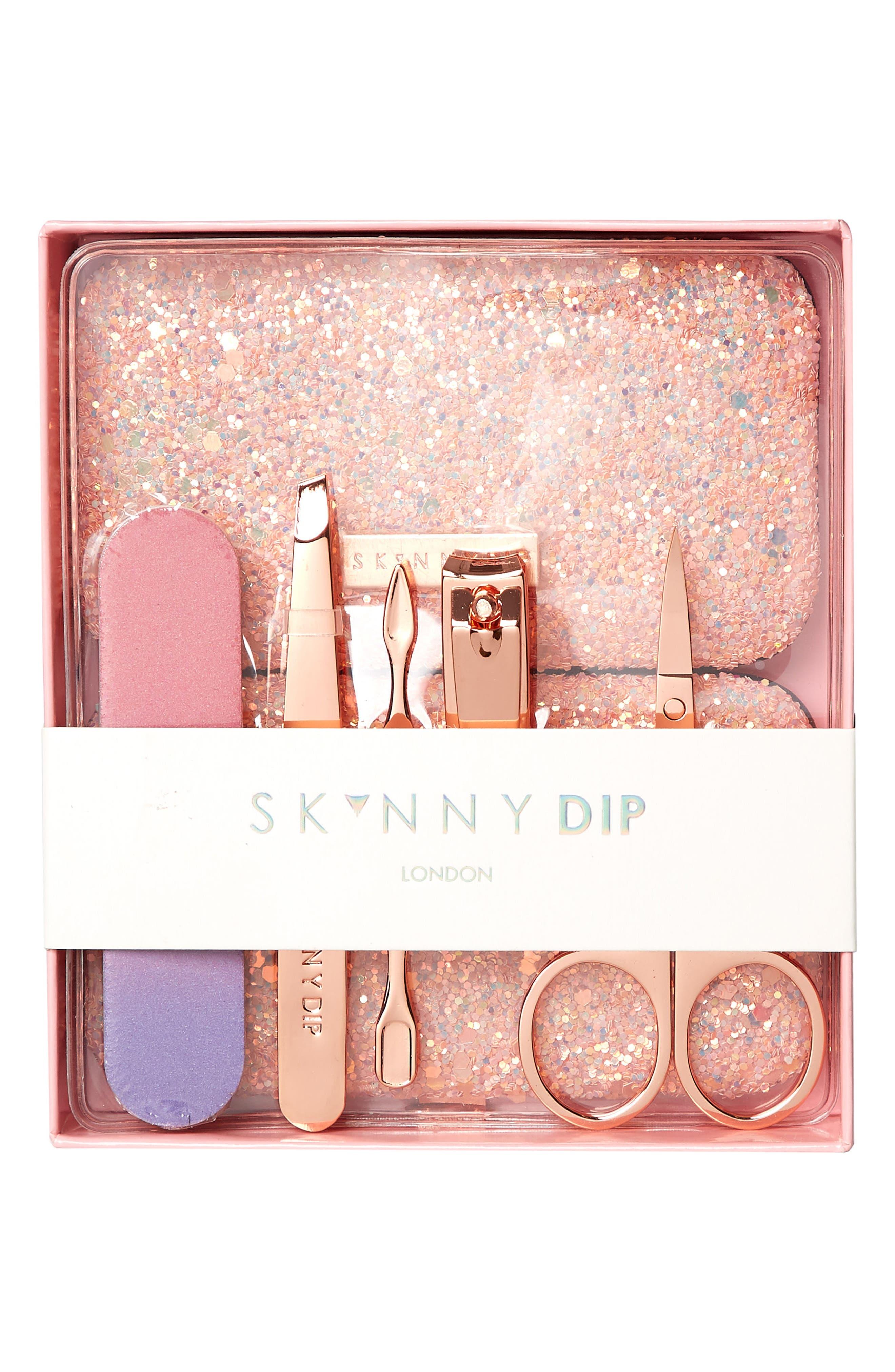 Skinny Dip Sunset Pink + Rose Gold Manicure Set,                             Alternate thumbnail 3, color,                             Pink - Rose Gold