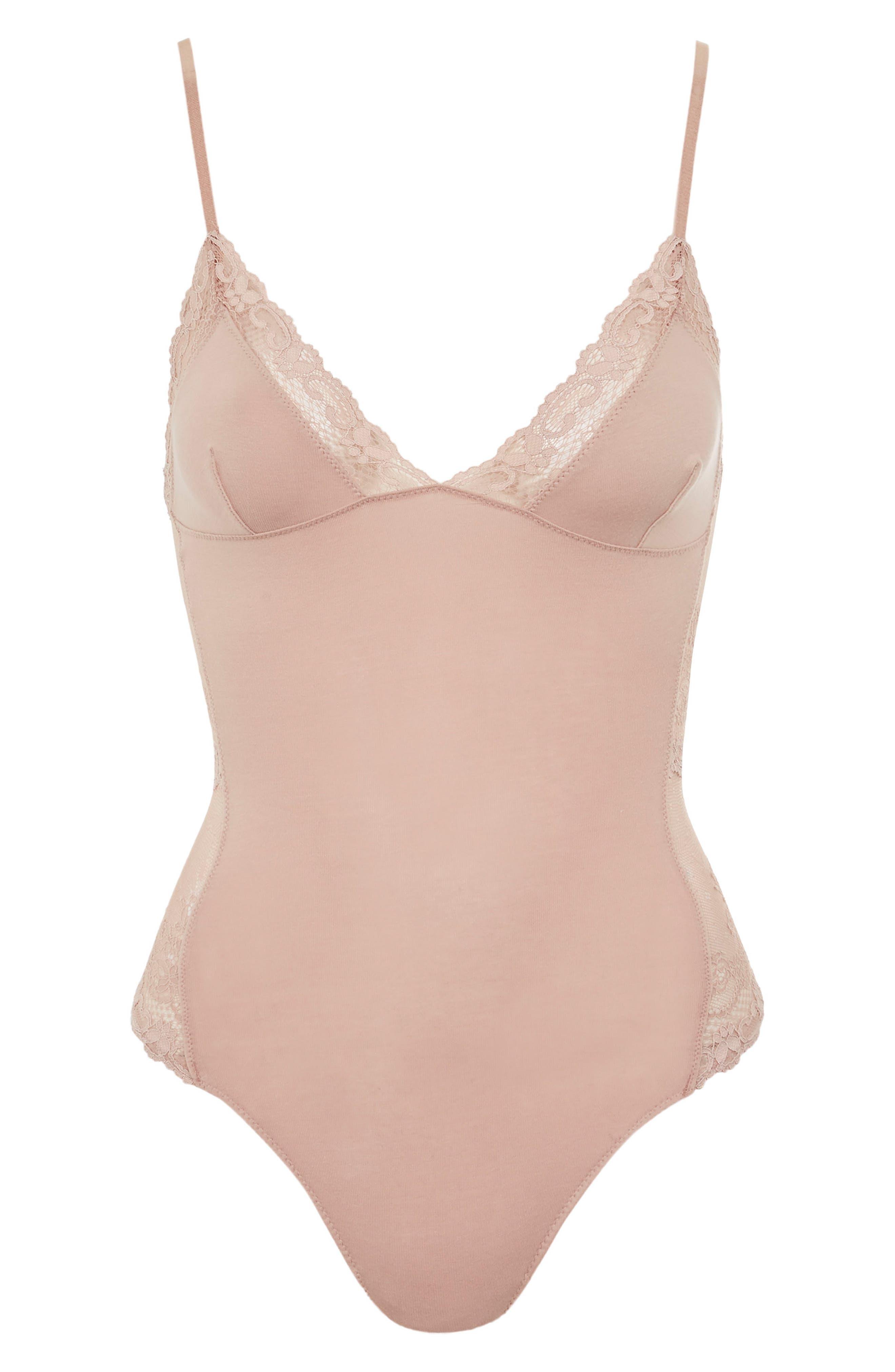 Cordelia Lace Trim Bodysuit,                             Alternate thumbnail 3, color,                             Nude