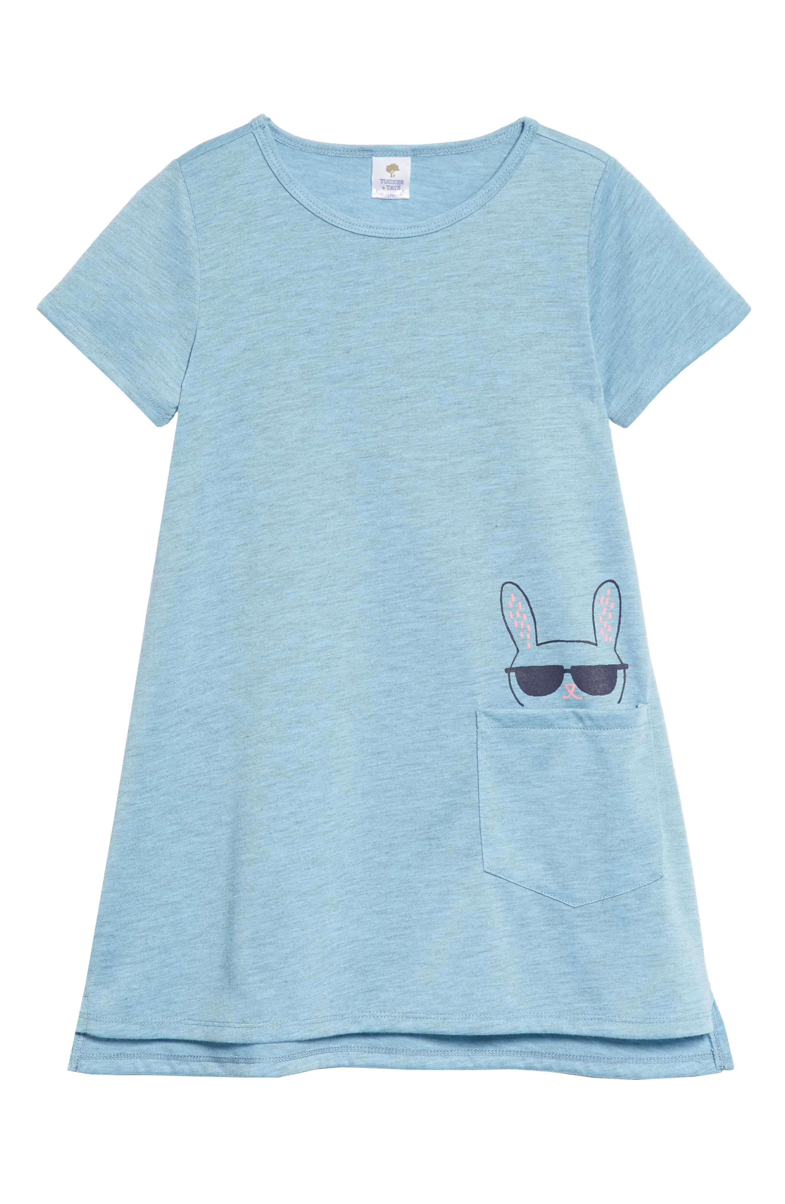 Tucker+Tate Pocket Dress,                             Main thumbnail 1, color,                             Blue Sky Heather Cool Bunny