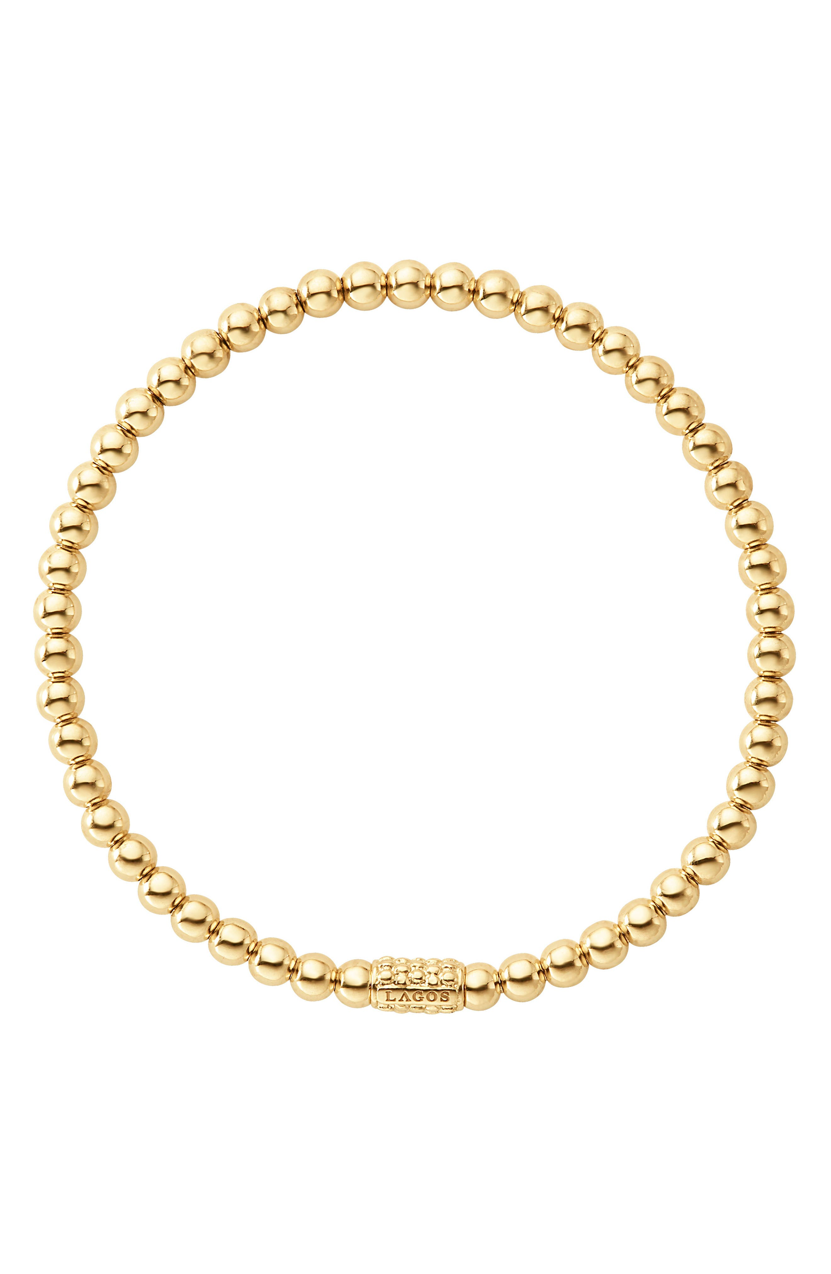 Caviar Gold Ball Stretch Bracelet,                             Alternate thumbnail 4, color,                             Gold