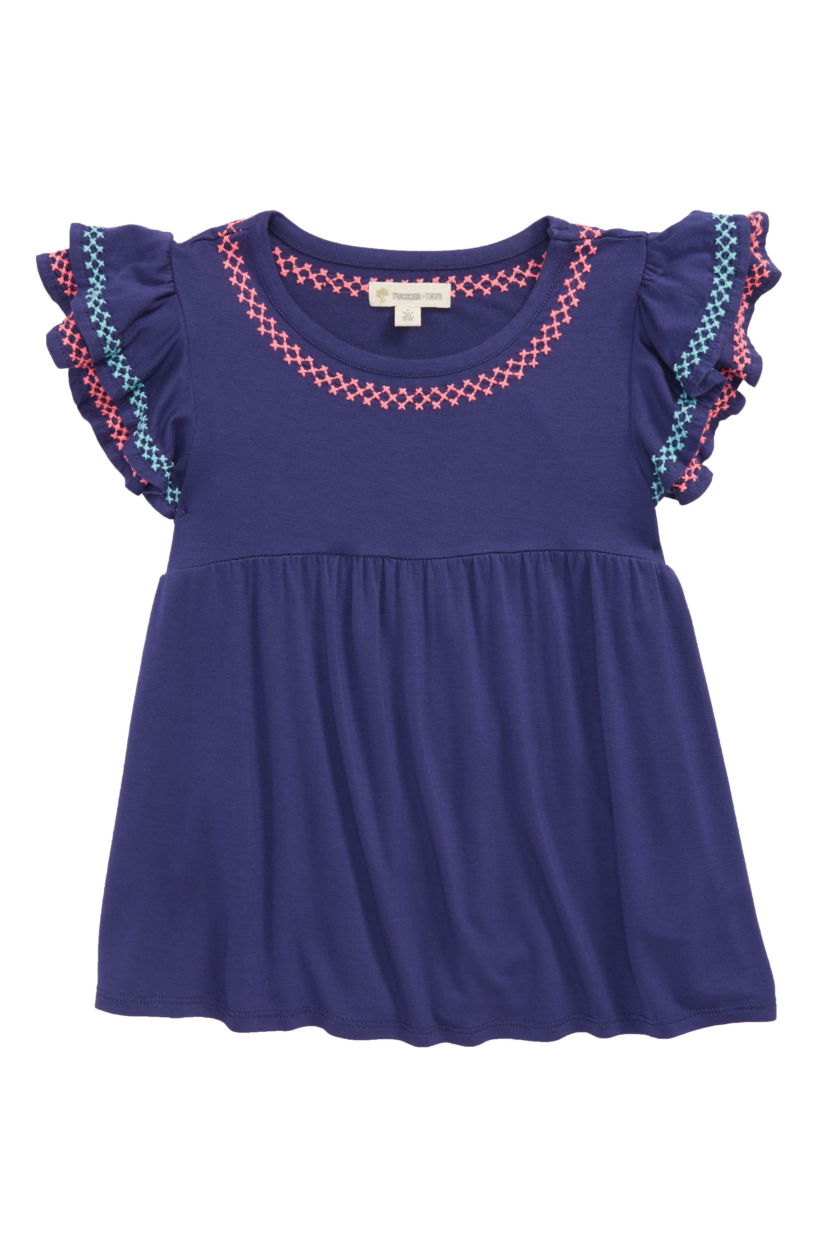 Ruffle Embroidered Tee,                         Main,                         color, Navy Ribbon