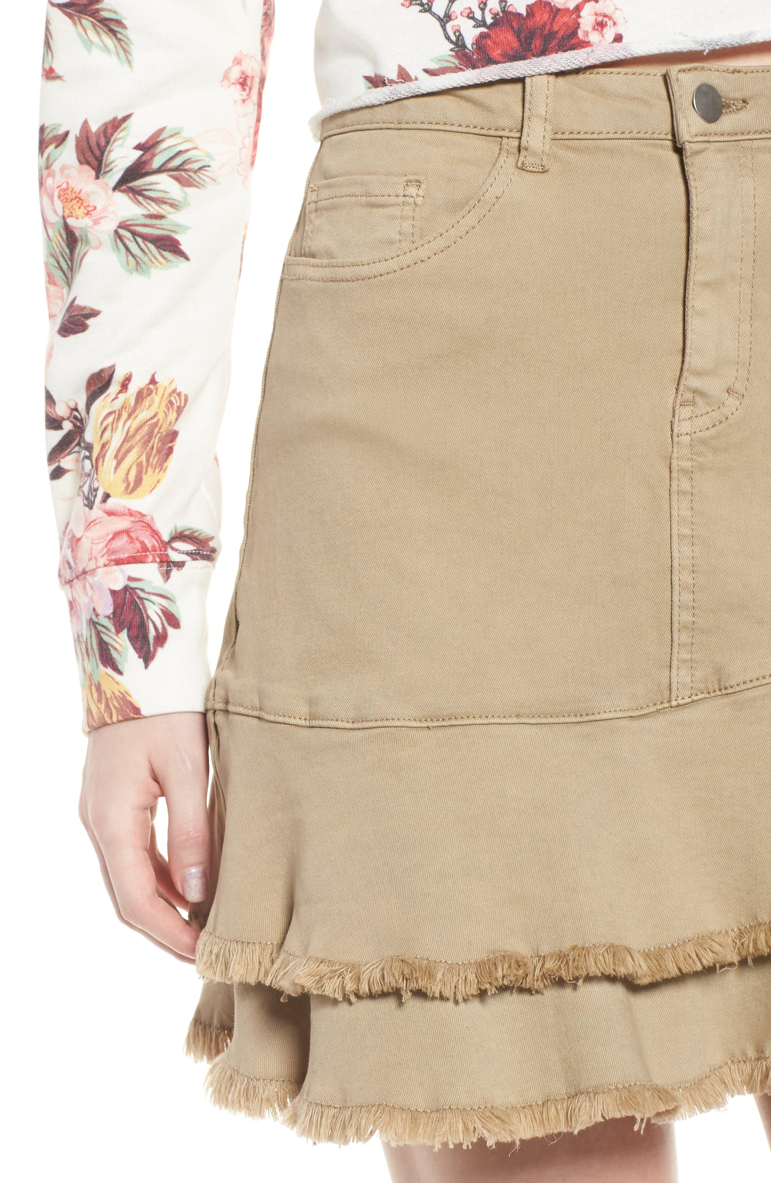 Tiered Fray Hem Skirt,                             Alternate thumbnail 4, color,                             Beige Nougat