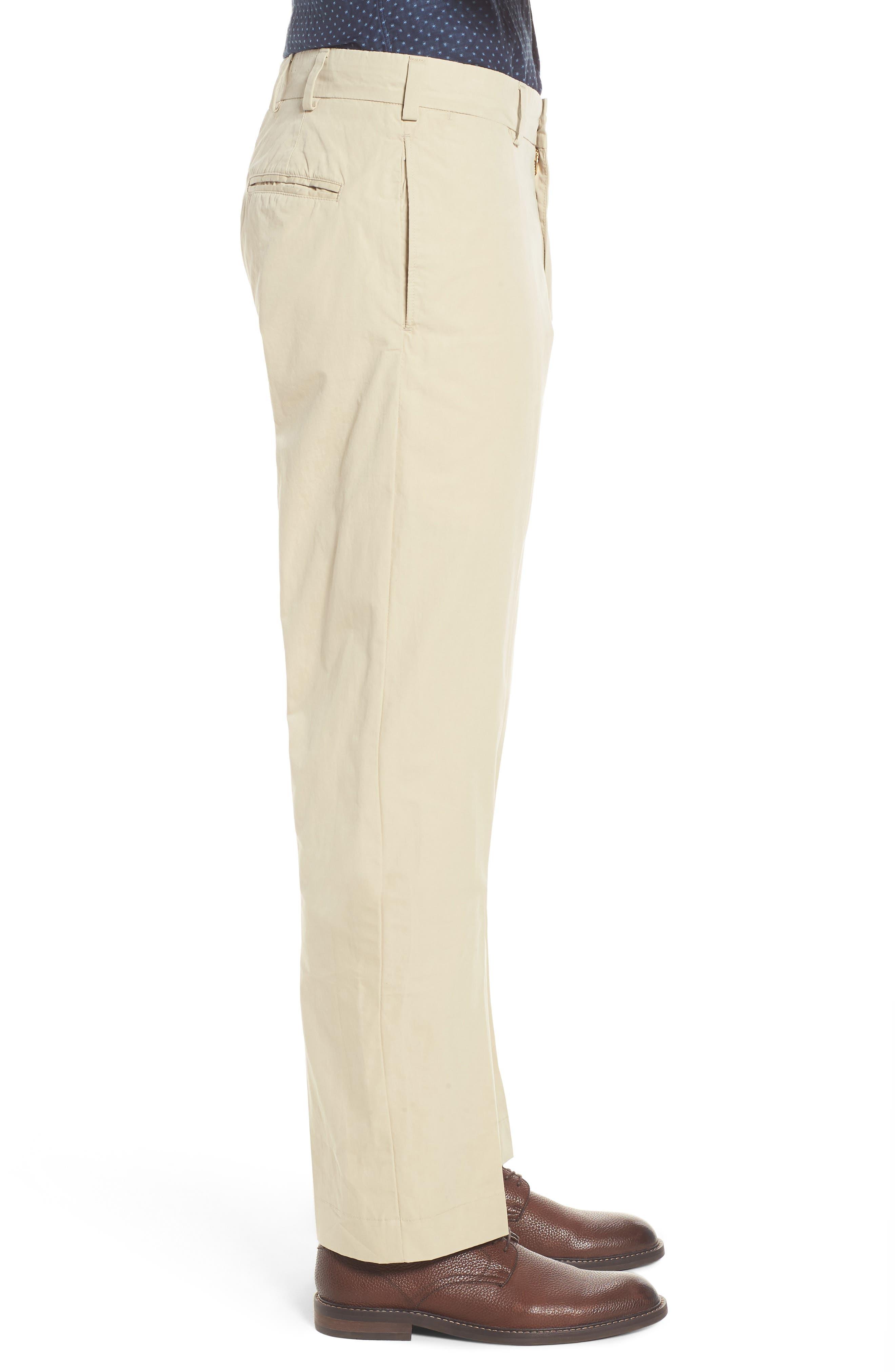 M2 Classic Fit Flat Front Tropical Cotton Poplin Pants,                             Alternate thumbnail 3, color,                             Khaki