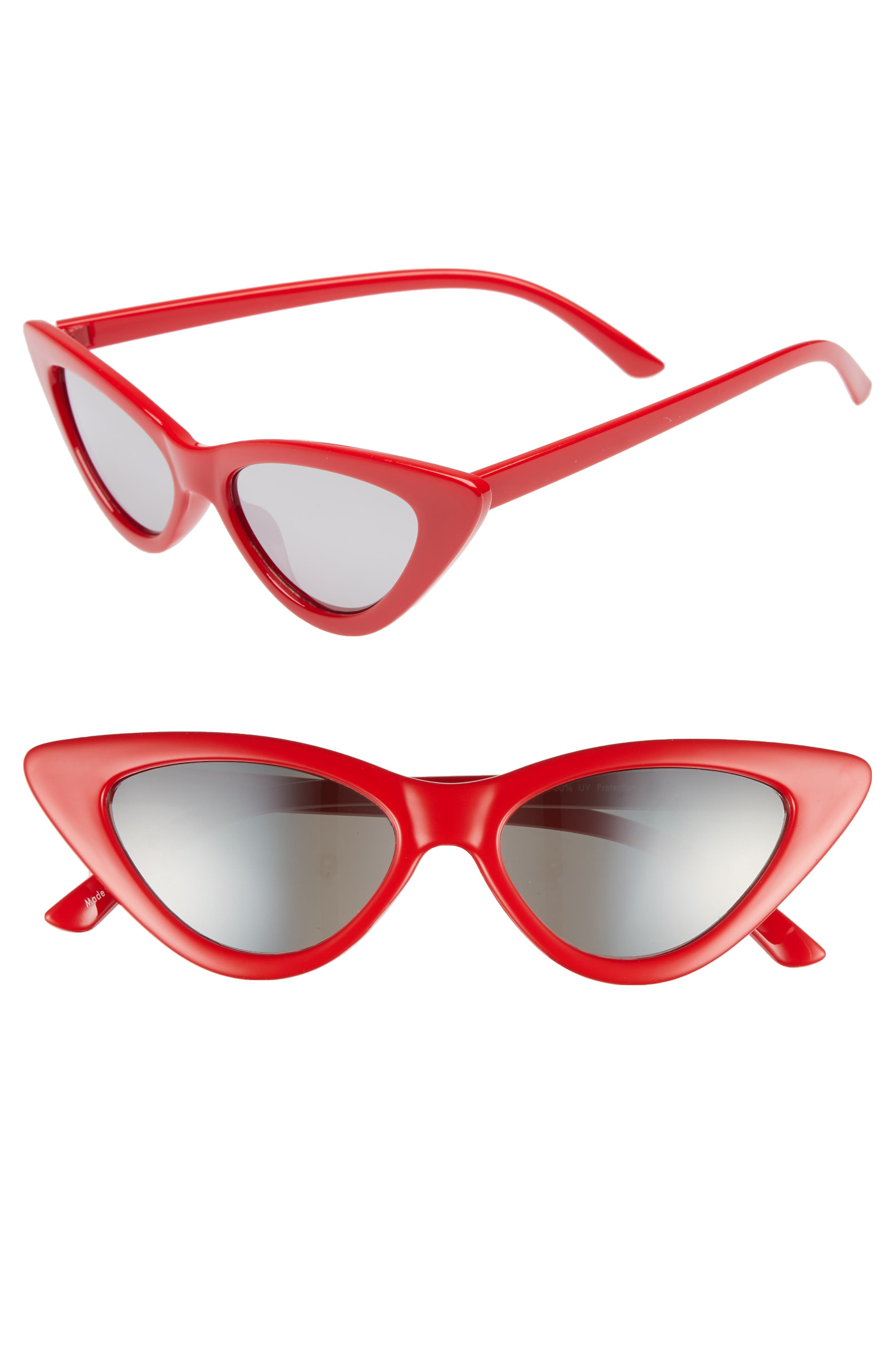 62mm Cat Eye Sunglasses,                             Main thumbnail 1, color,                             Red/ Silver