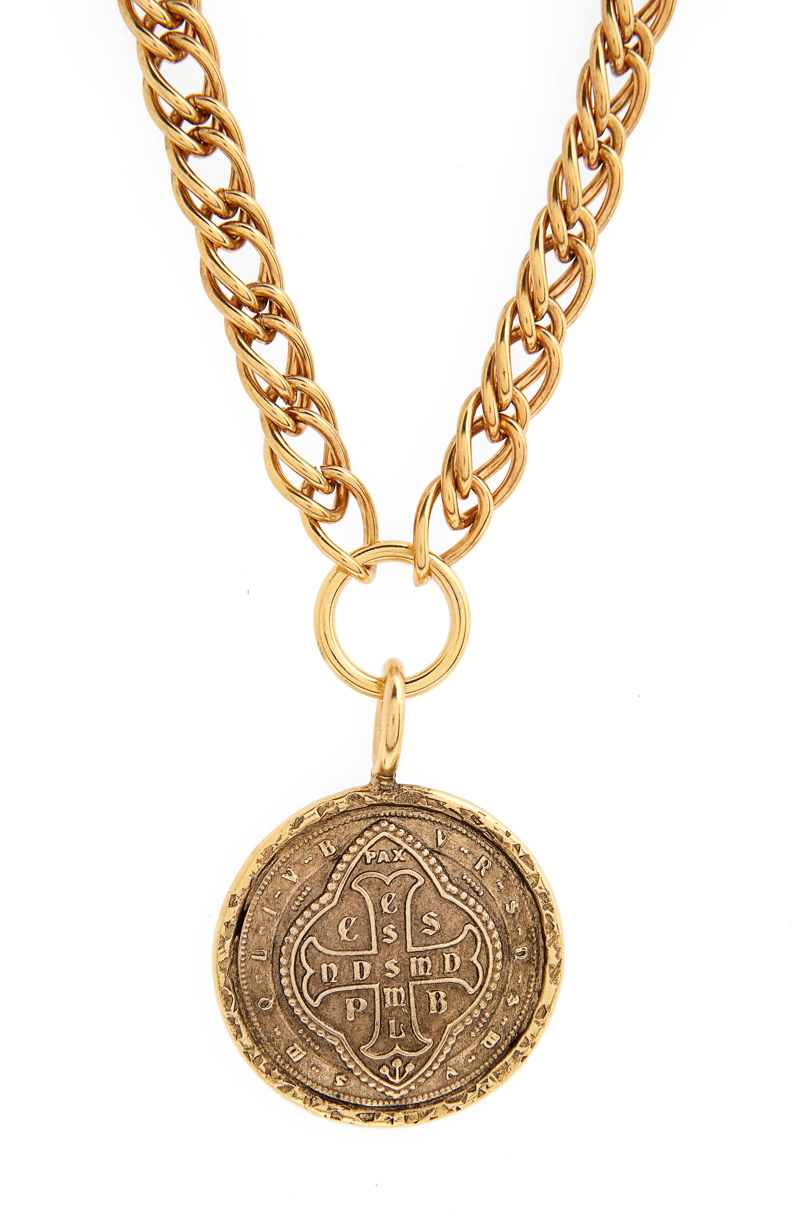 Virgins Saints and Angels Cathedral Coin Necklace,                             Alternate thumbnail 3, color,                             Gold