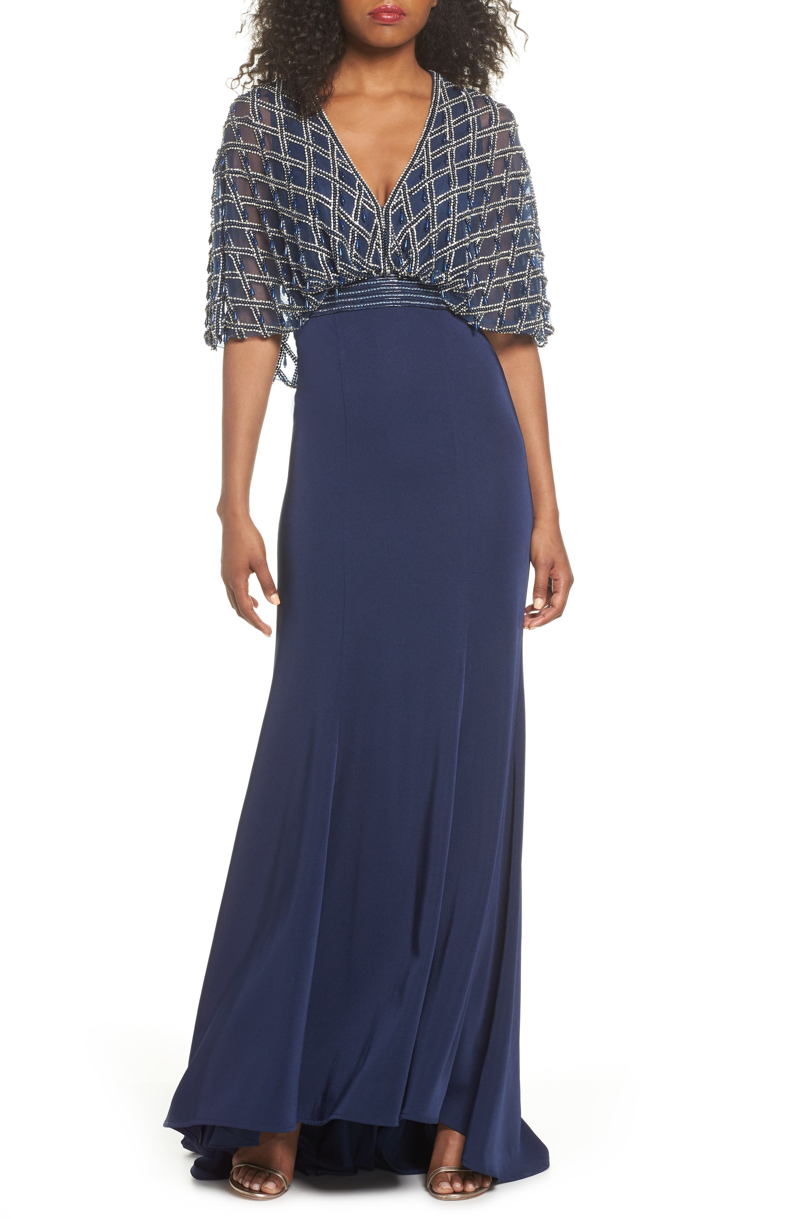 Plunging Beaded Gown,                         Main,                         color, Midnight
