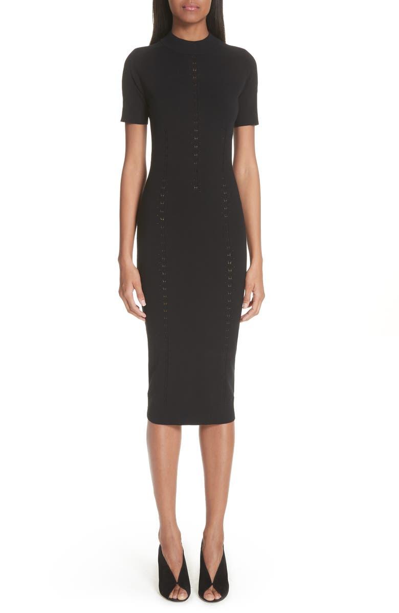 Knit Detail Body-Con Dress