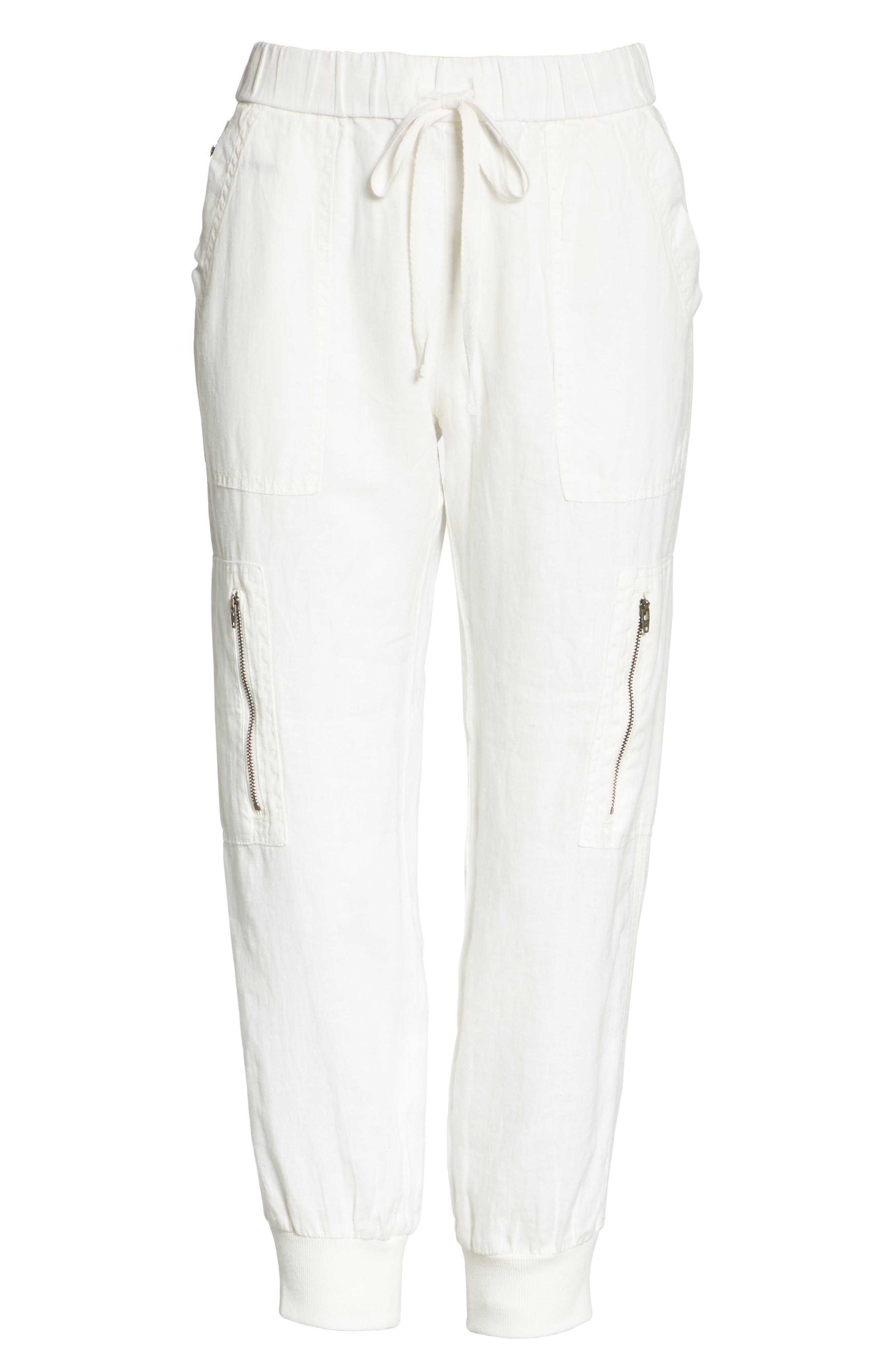 Florimel Crop Linen Jogger Pants,                             Alternate thumbnail 6, color,                             Porcelain