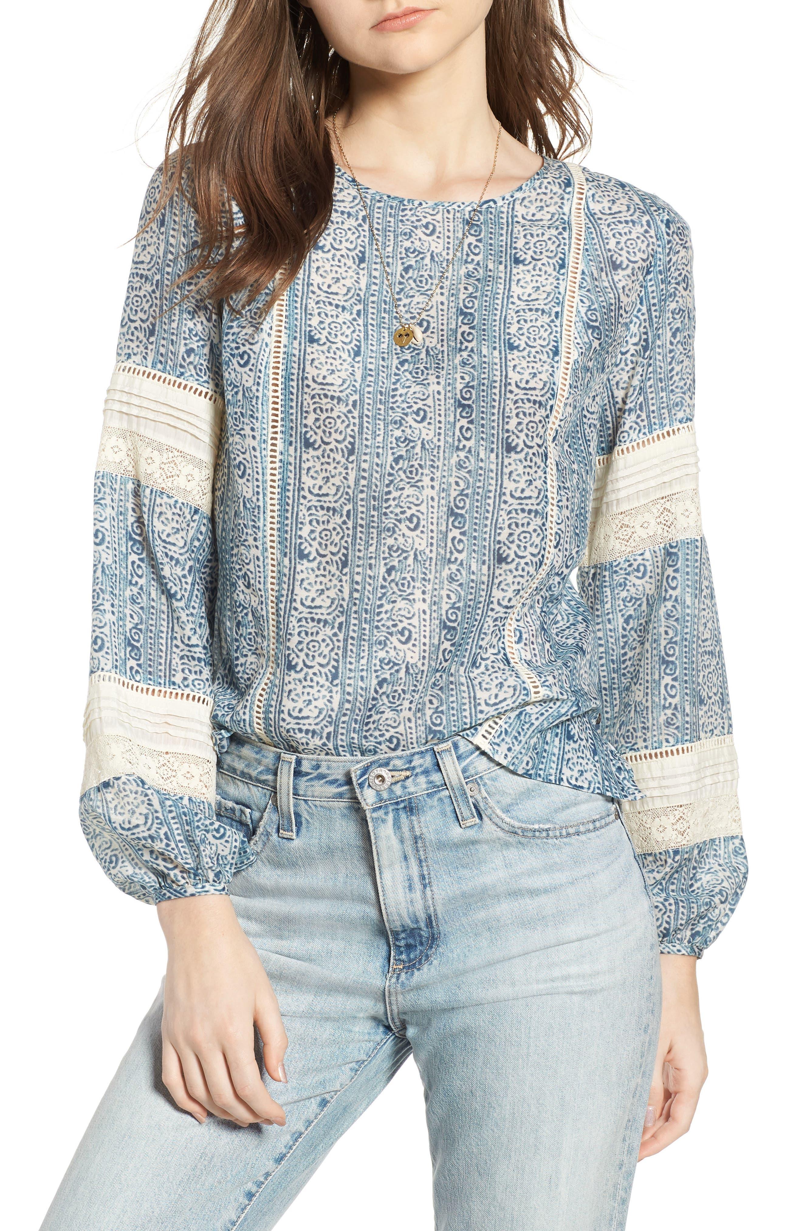 Pintuck Lace Blouse,                         Main,                         color, Color 17 Combo A