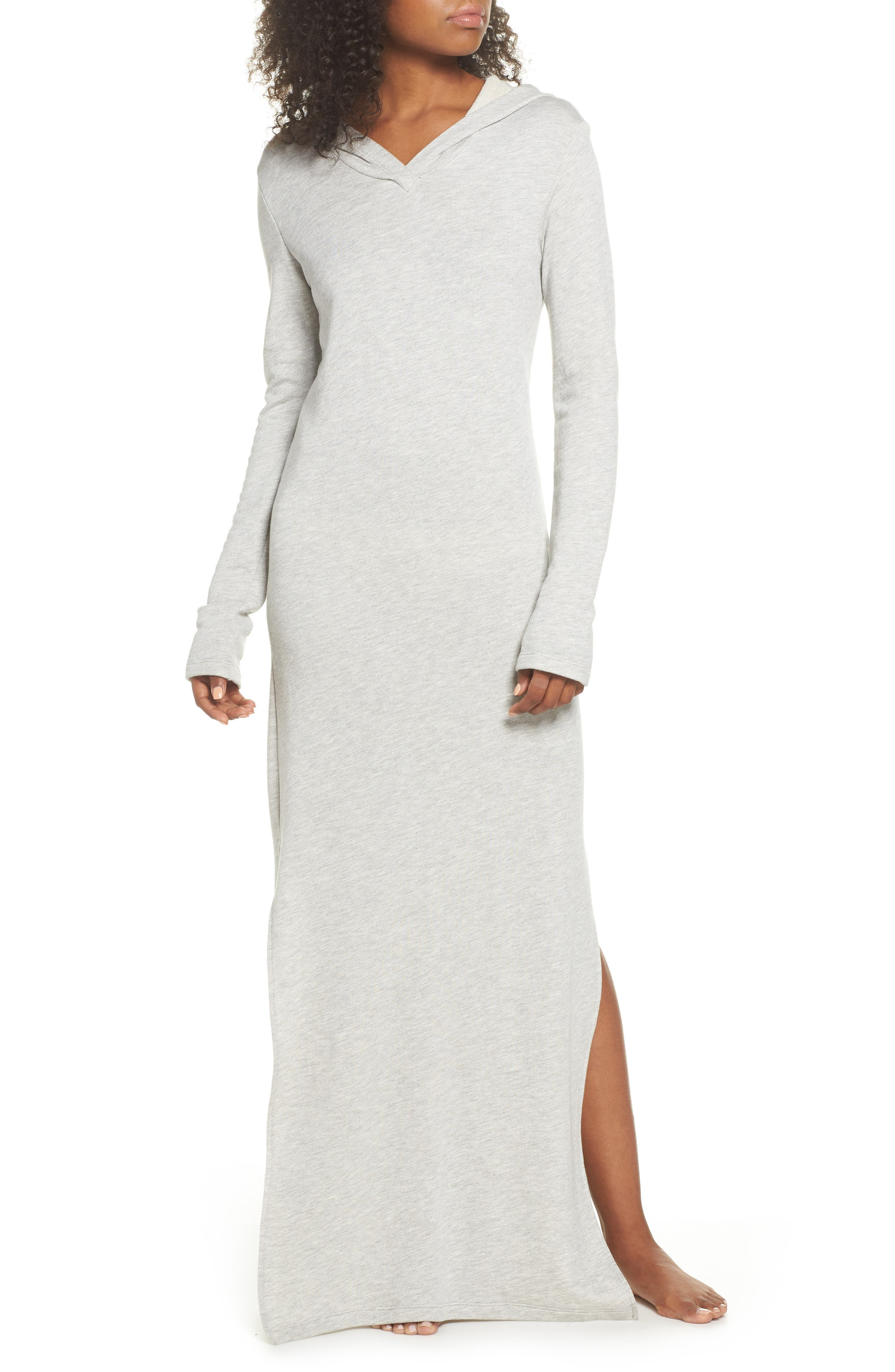 Hooded Terry Nightgown,                         Main,                         color, Grey Terry