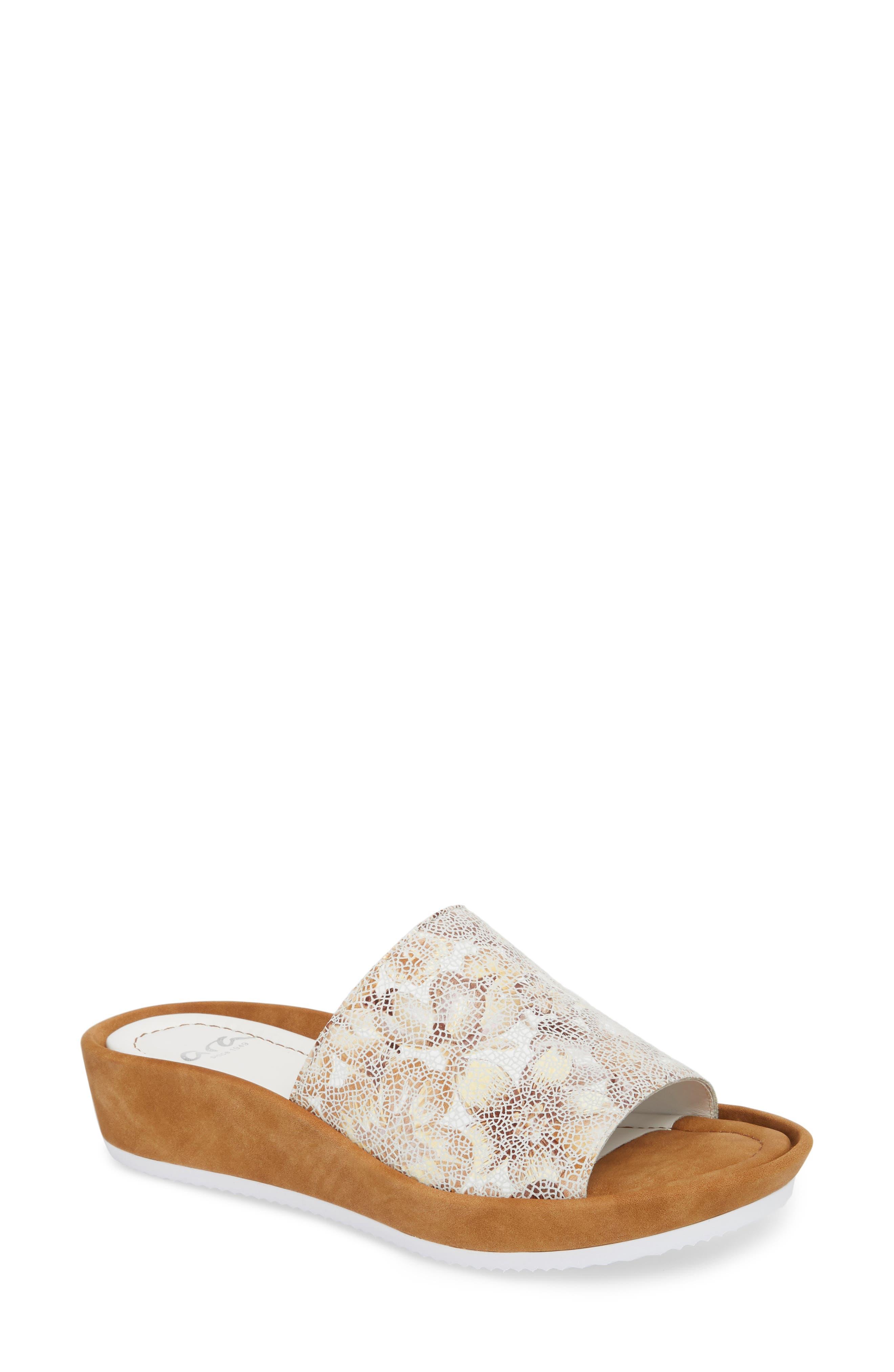 Tania Platform Wedge Slide Sandal,                         Main,                         color, Taupe Leather