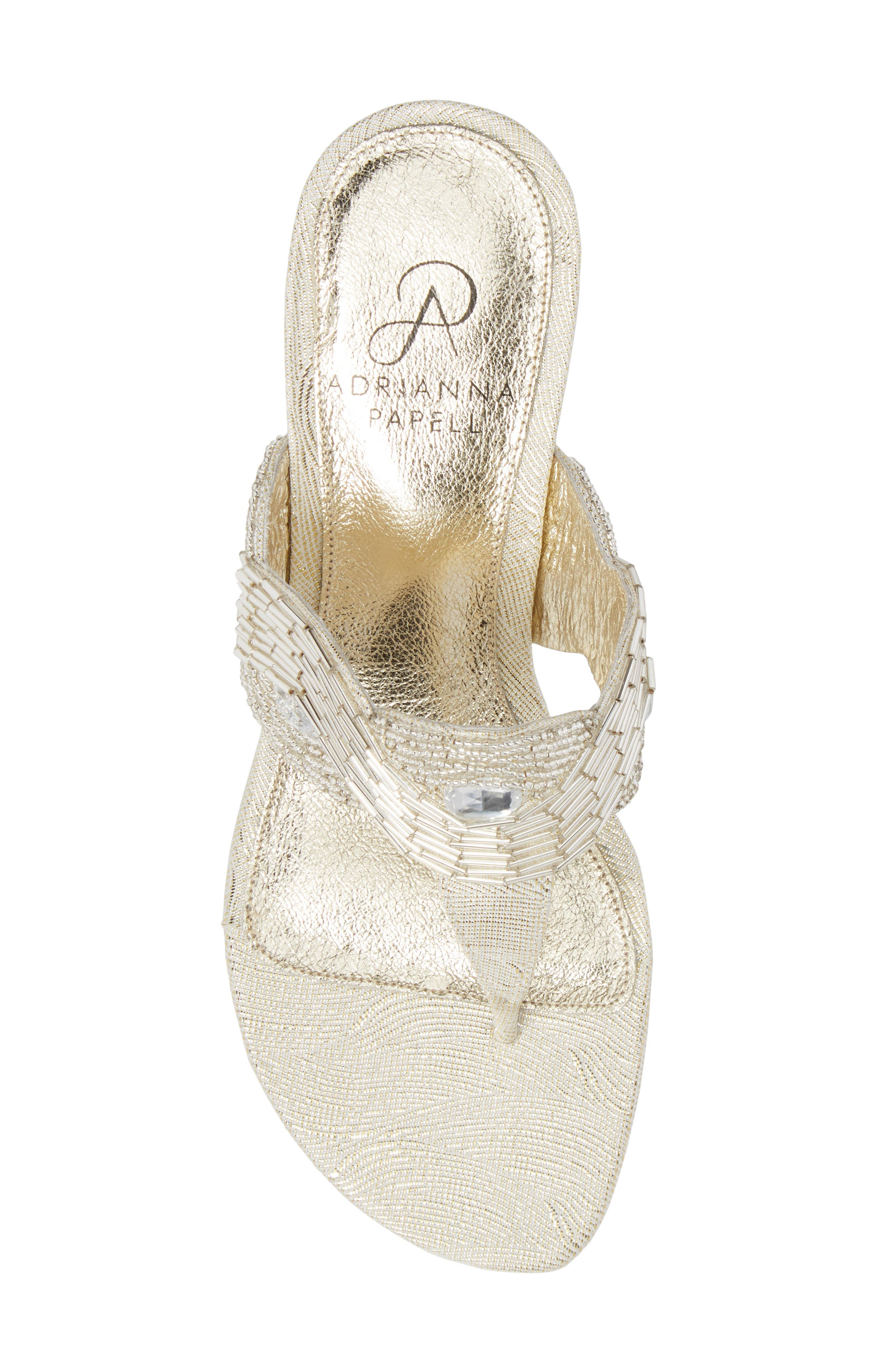 Coco Beaded Wedge Sandal,                             Alternate thumbnail 5, color,                             Pearl Fabric