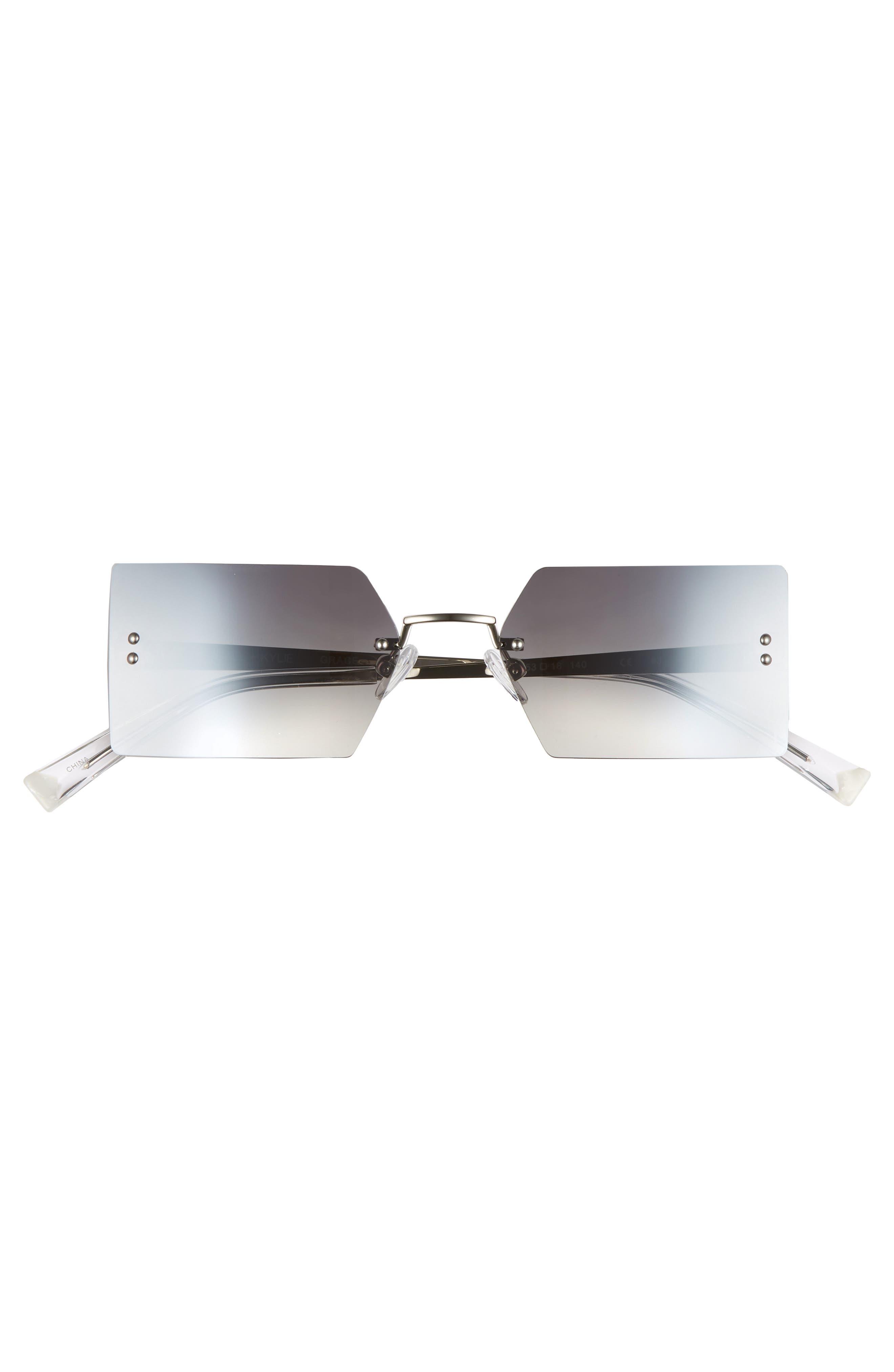 Grace 53mm Rimless Rectangular Sunglasses,                             Alternate thumbnail 3, color,                             Silver/ Smoke Gradient Flash